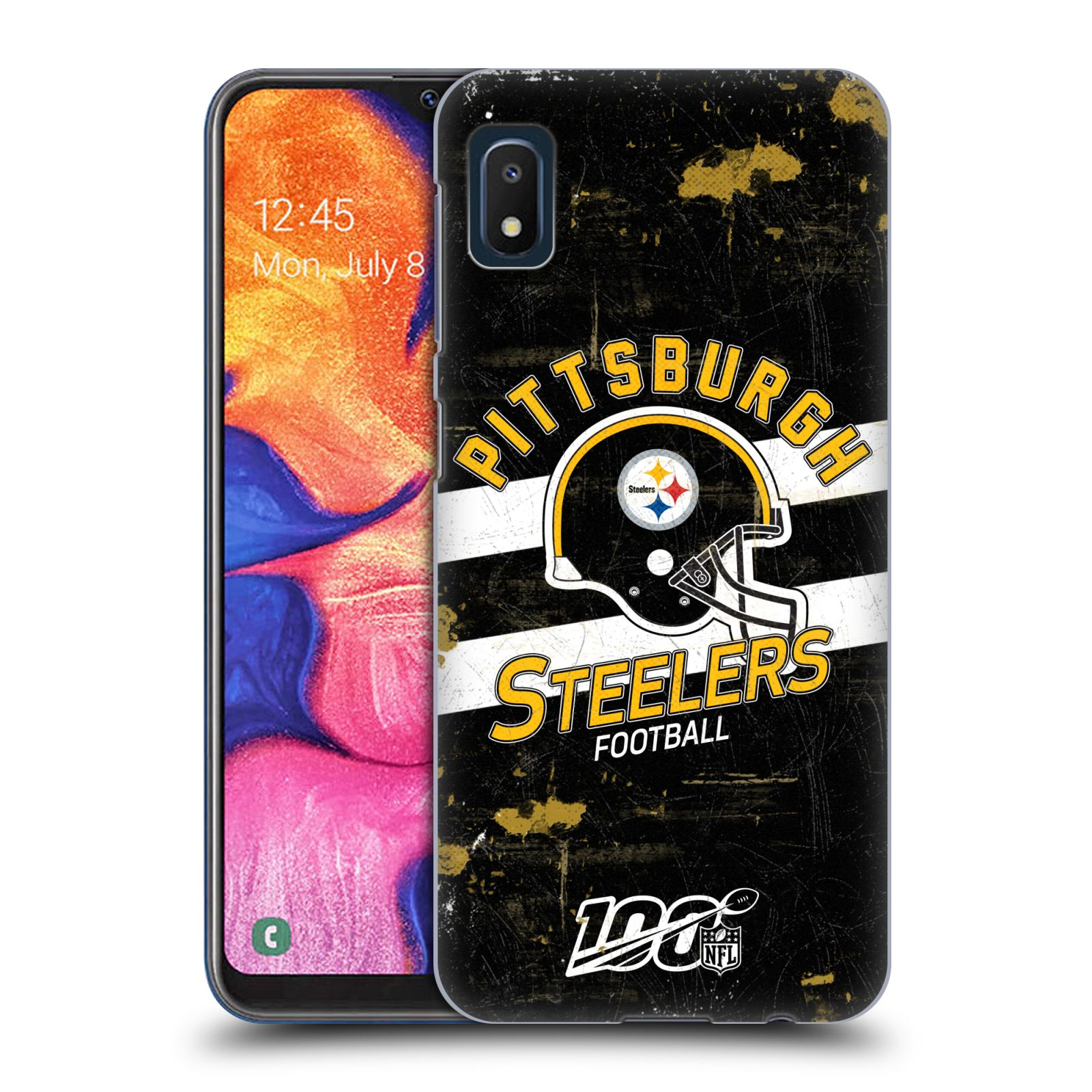 Official NFL 2019/20 Pittsburgh Steelers Helmet Distressed Look 100th Case for Samsung Galaxy A10e (2019)