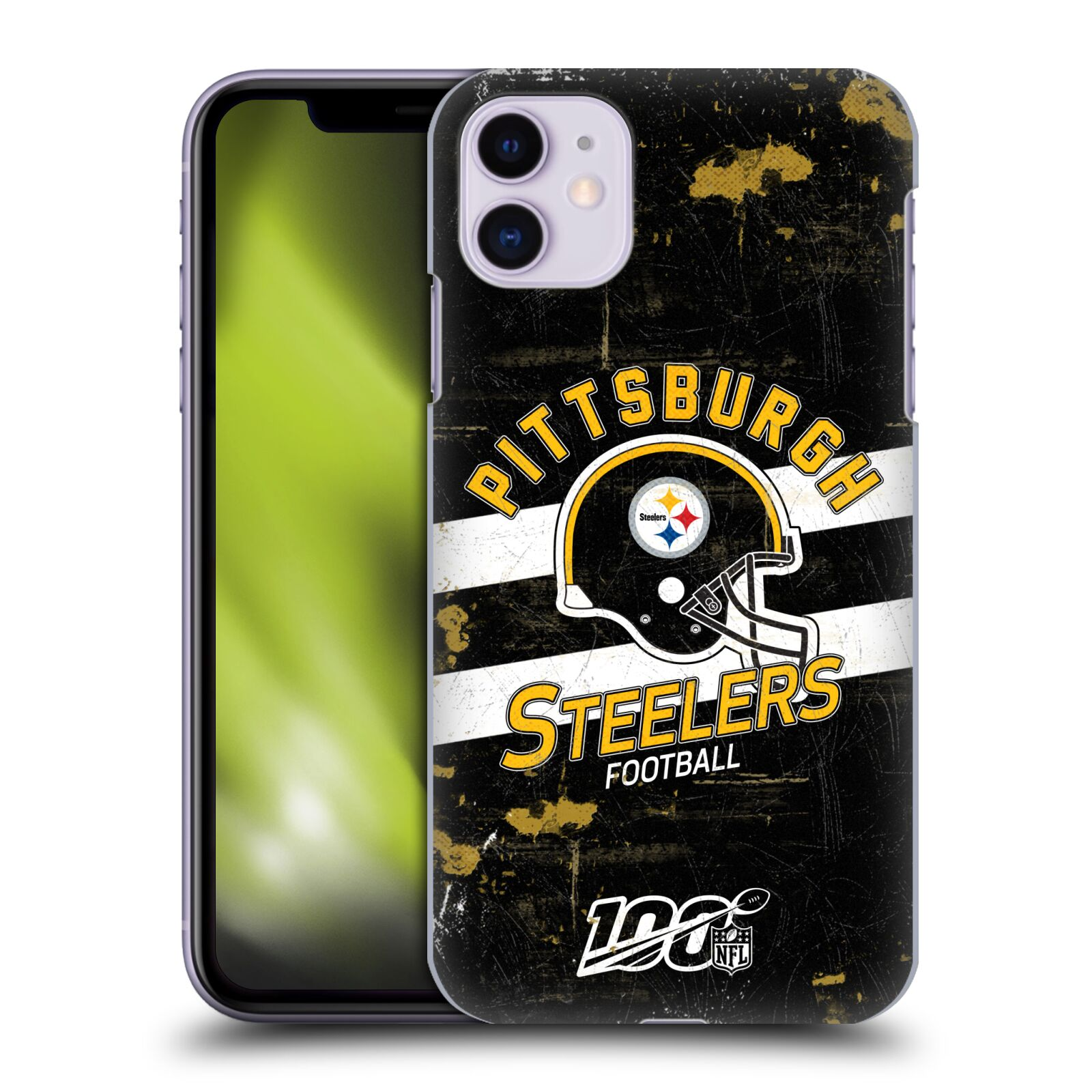 Official NFL 2019/20 Pittsburgh Steelers Helmet Distressed Look 100th Case for Apple iPhone 11