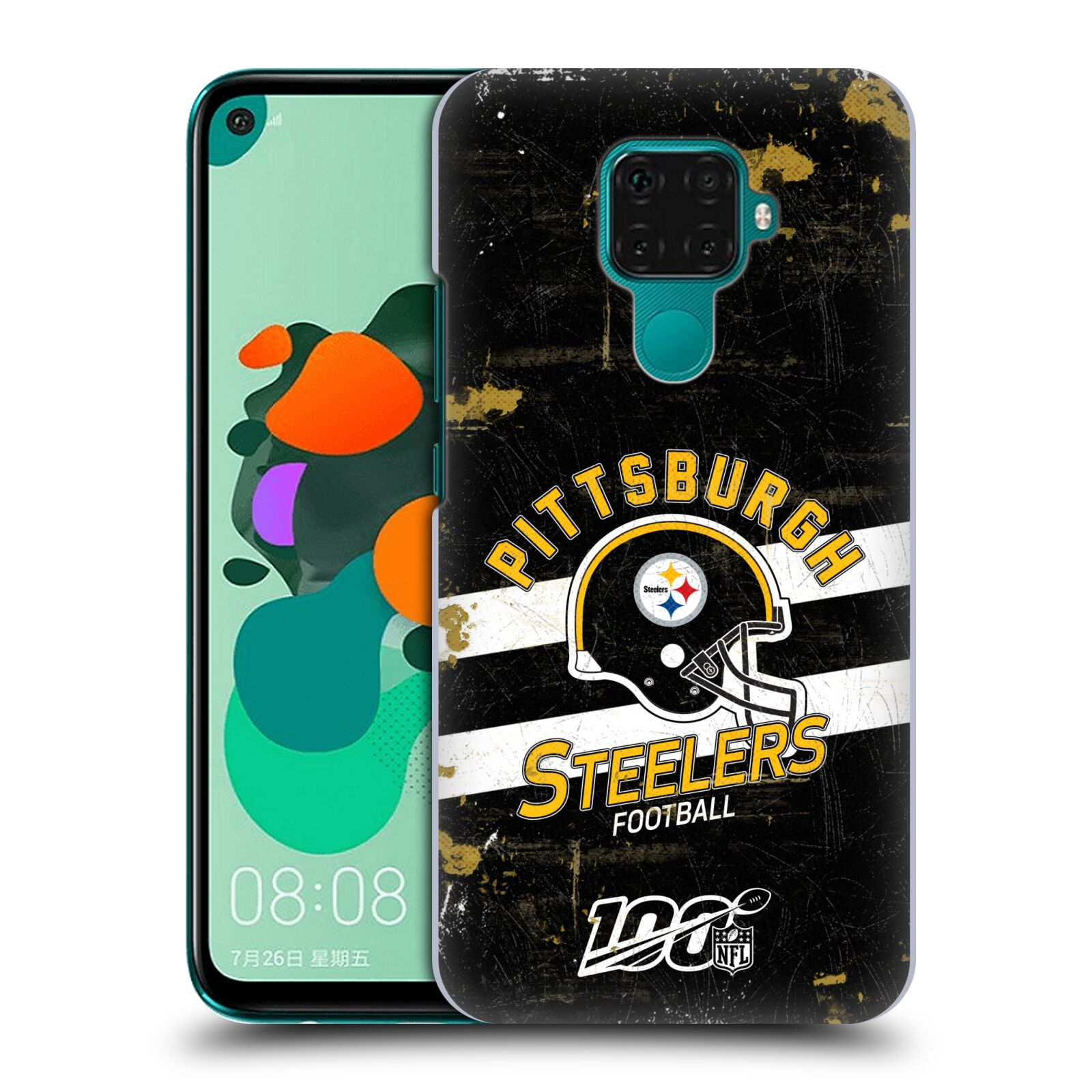 Official NFL 2019/20 Pittsburgh Steelers Helmet Distressed Look 100th Case for Huawei Nova 5i Pro/Mate 30 Lite