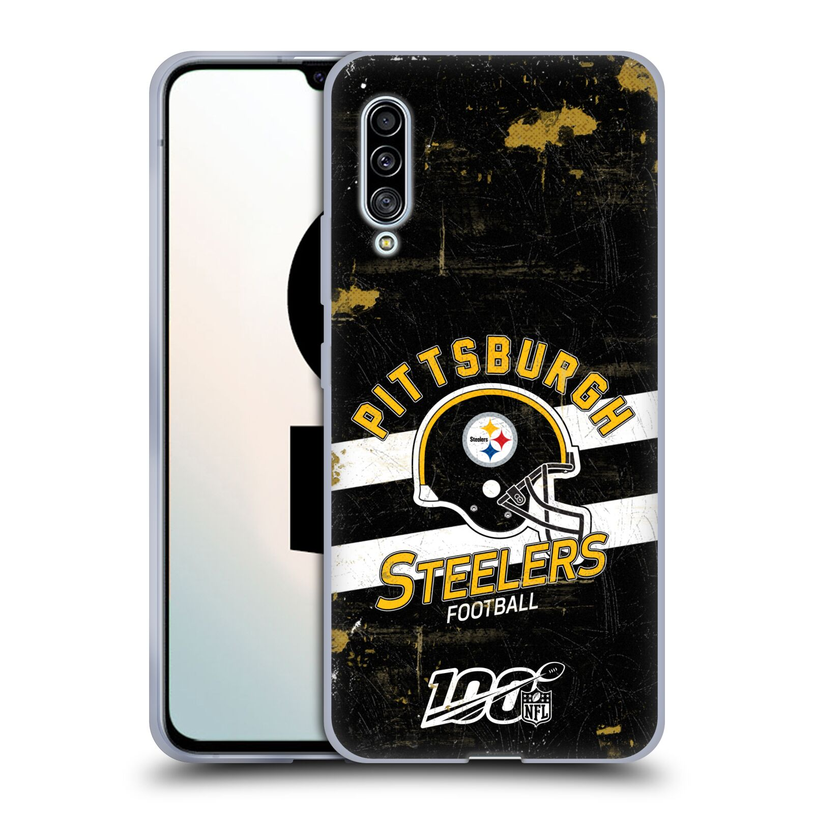 Official NFL 2019/20 Pittsburgh Steelers Helmet Distressed Look 100th Gel Case for Samsung Galaxy A90 5G (2019)