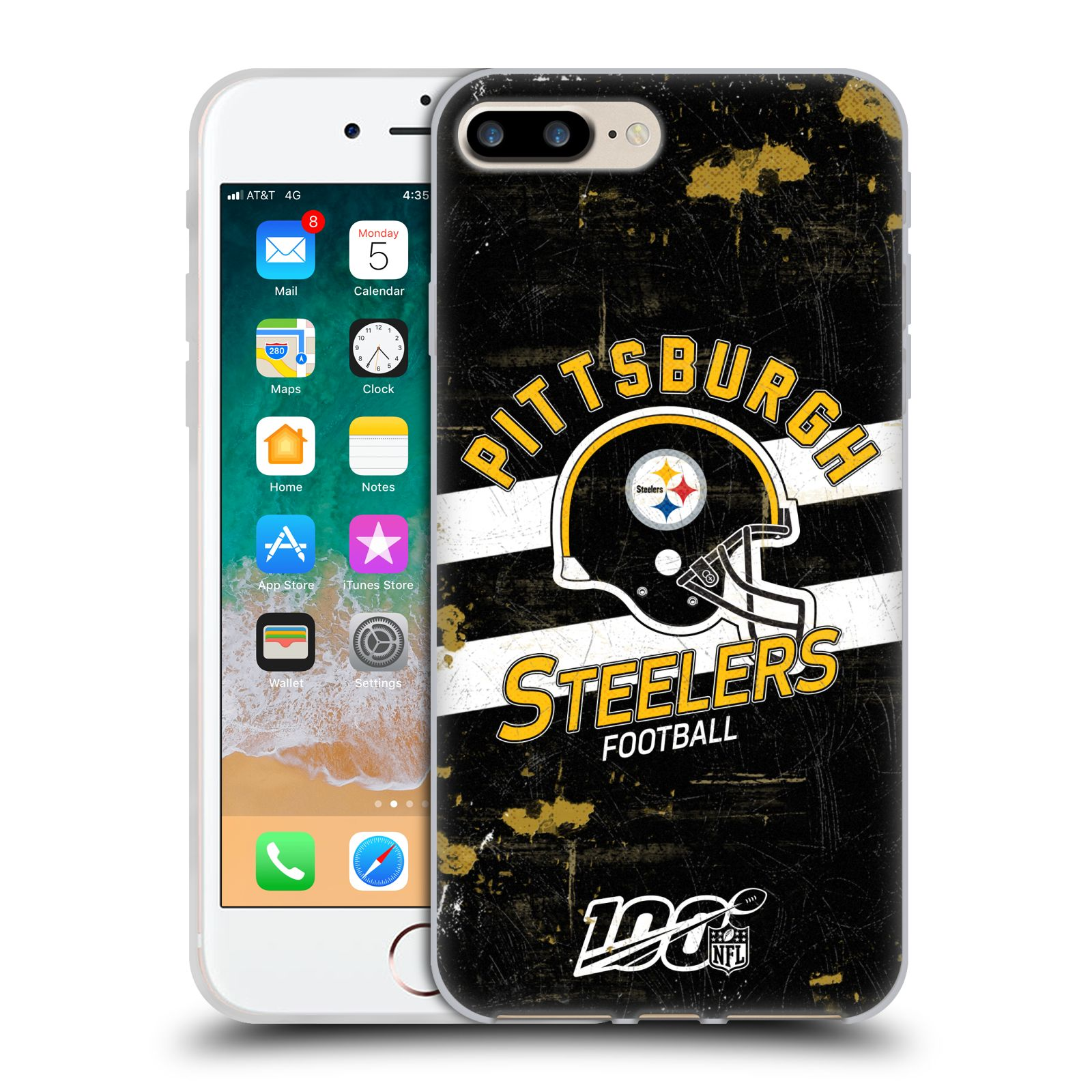 Official NFL 2019/20 Pittsburgh Steelers Helmet Distressed Look 100th Gel Case for Apple iPhone 7 Plus / iPhone 8 Plus