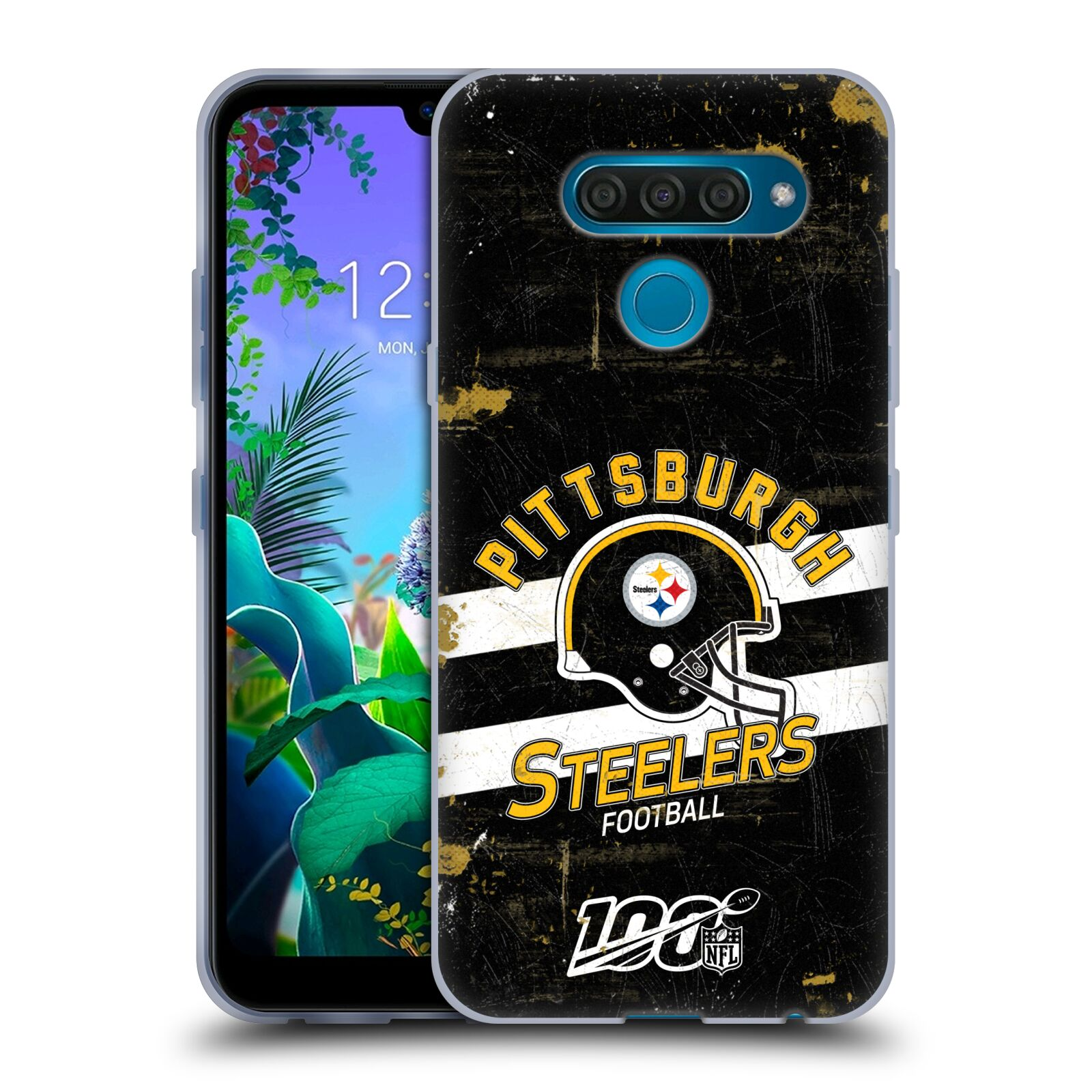 Official NFL 2019/20 Pittsburgh Steelers Helmet Distressed Look 100th Gel Case for LG Q60