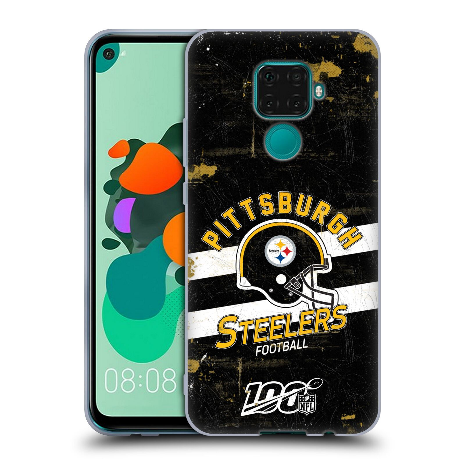 Official NFL 2019/20 Pittsburgh Steelers Helmet Distressed Look 100th Gel Case for Huawei Nova 5i Pro/Mate 30 Lite