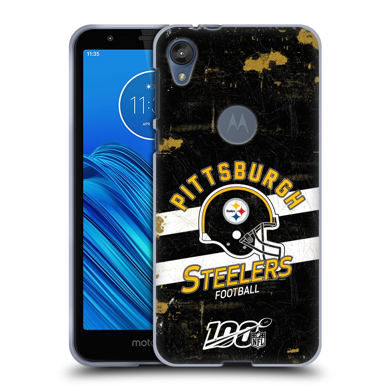 Official NFL 2019/20 Pittsburgh Steelers Helmet Distressed Look 100th Gel Case for Motorola Moto E6