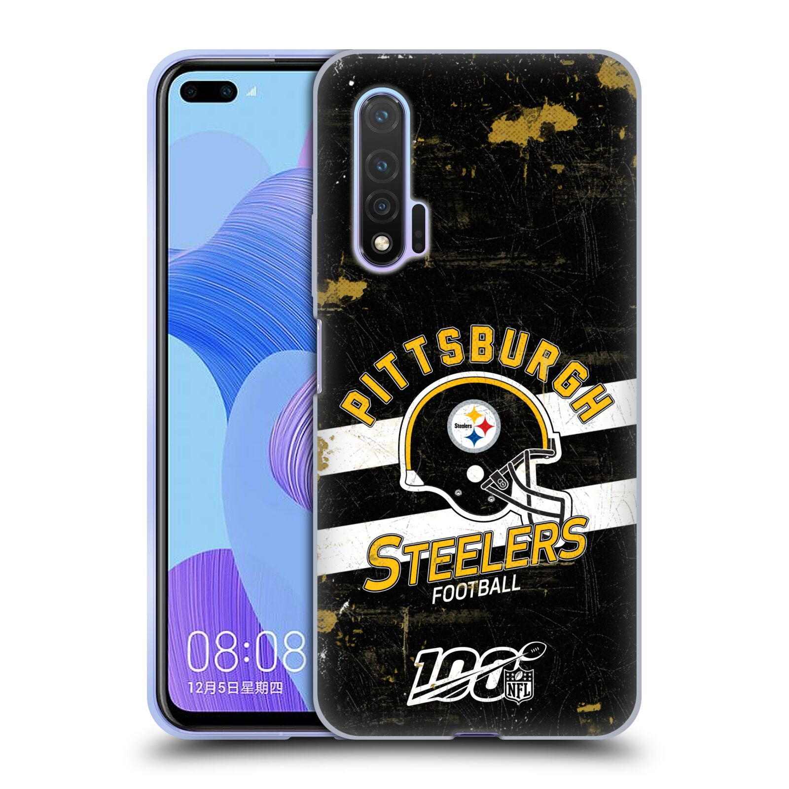 Official NFL 2019/20 Pittsburgh Steelers Helmet Distressed Look 100th Gel Case for Huawei Nova 6 5G