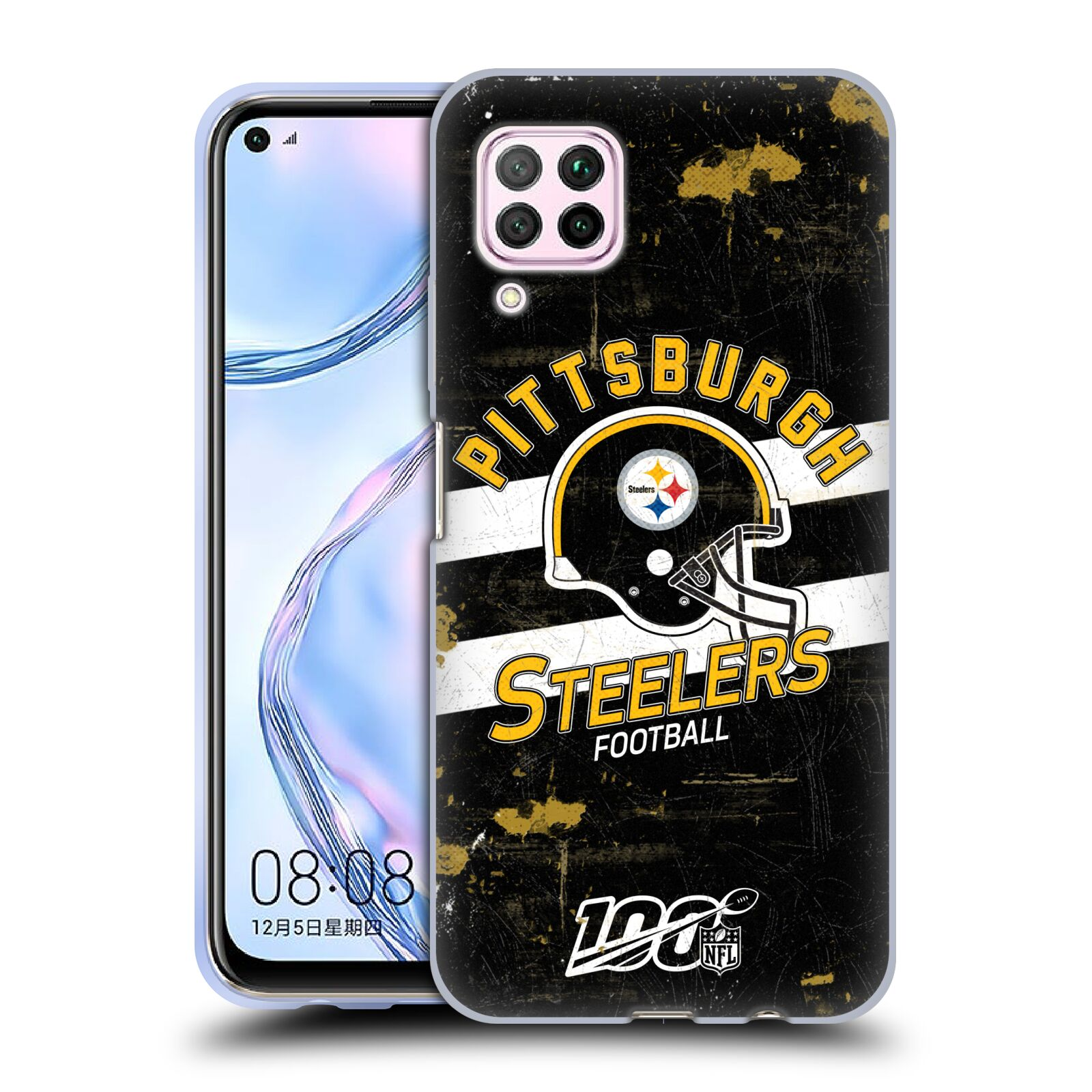 Official NFL 2019/20 Pittsburgh Steelers Helmet Distressed Look 100th Gel Case for Huawei Nova 6 SE / P40 Lite