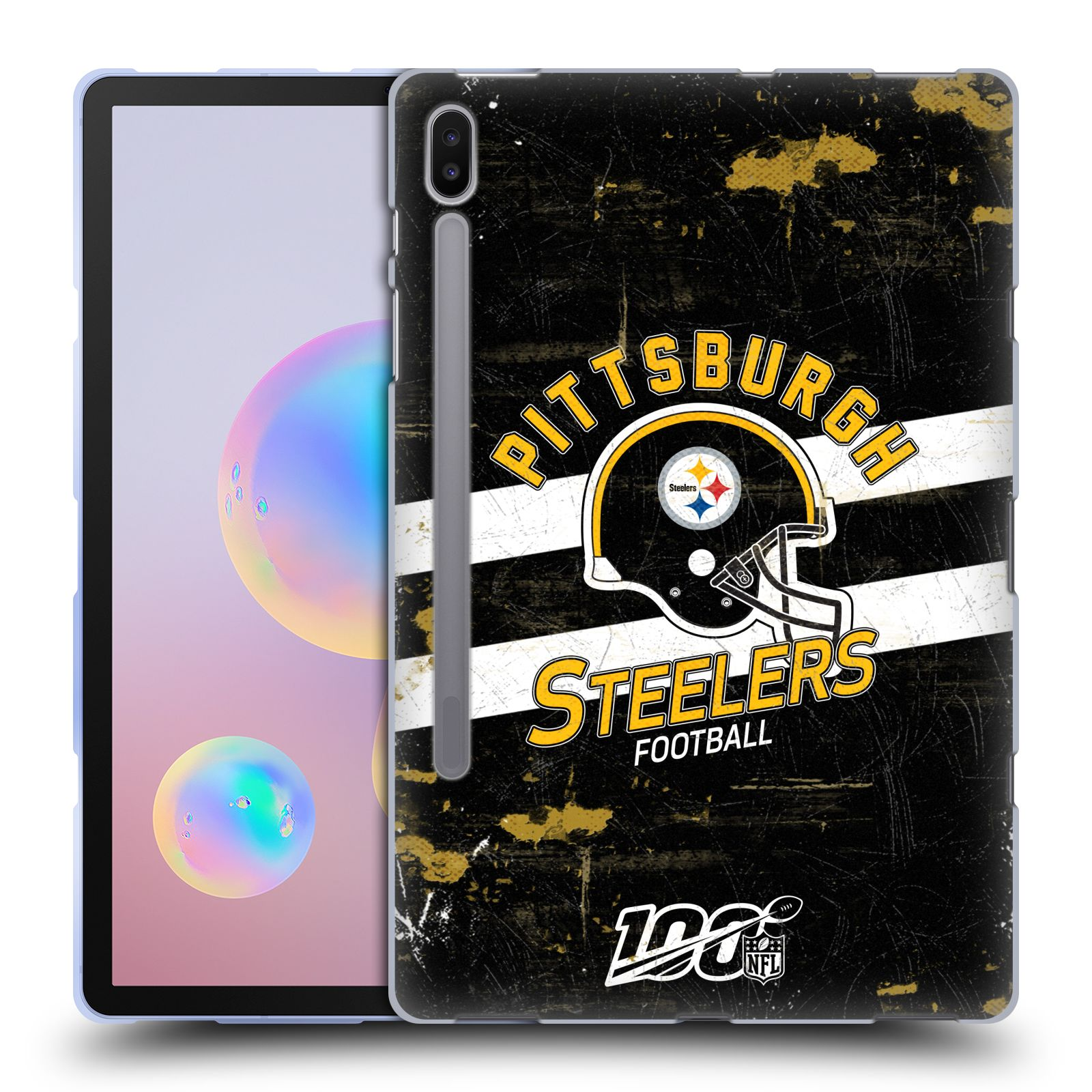 Official NFL 2019/20 Pittsburgh Steelers Helmet Distressed Look 100th Gel Case for Samsung Galaxy Tab S6 (2019)