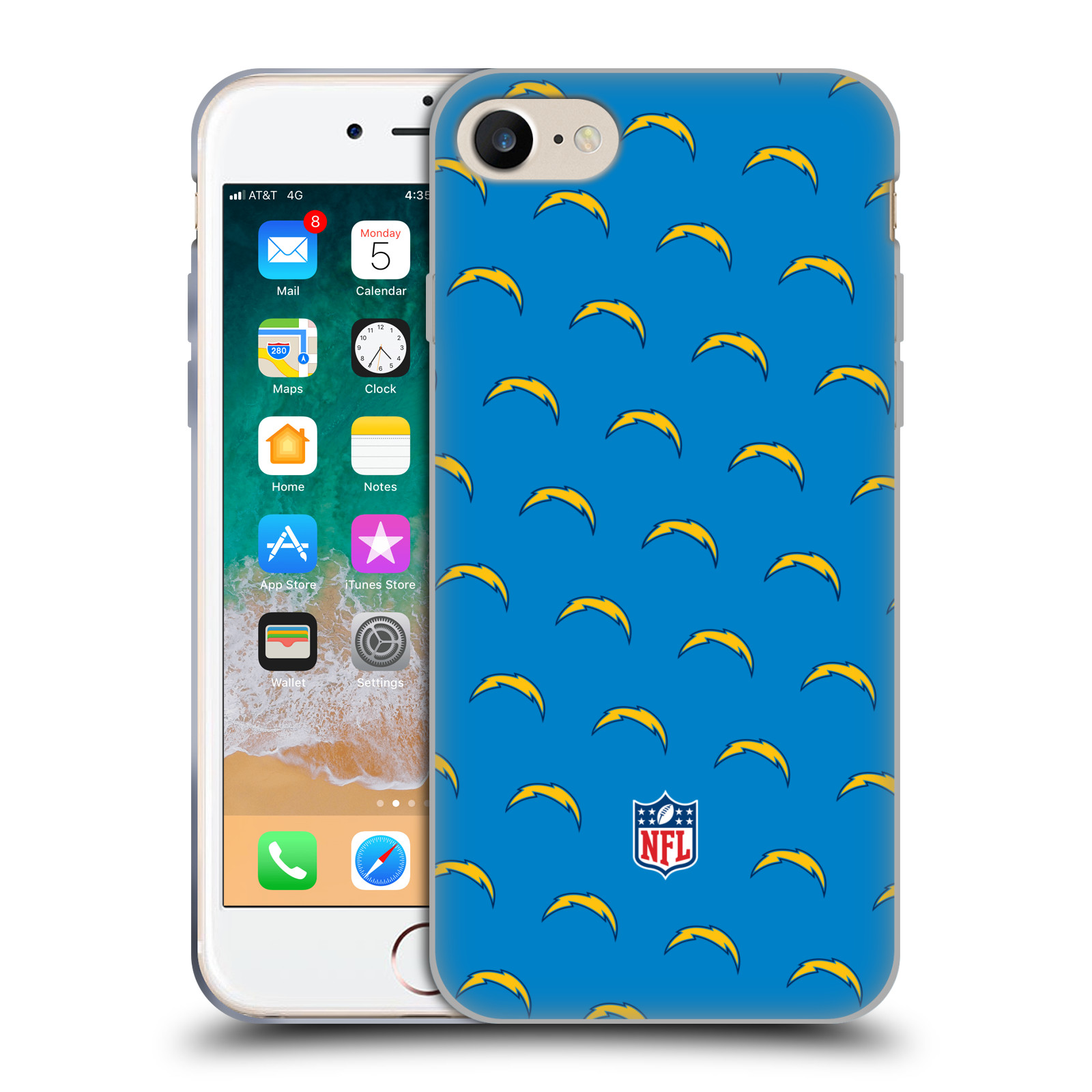 Official NFL 2017/18 Los Angeles Chargers Patterns Gel Case for Apple iPhone 7 / 8 / iPhone SE 2020