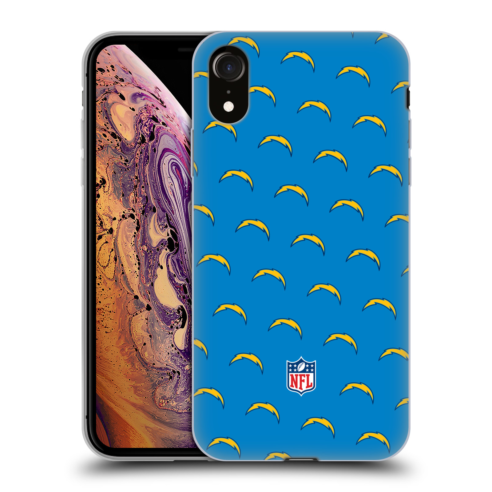 Official NFL 2017/18 Los Angeles Chargers Patterns Gel Case for Apple iPhone XR