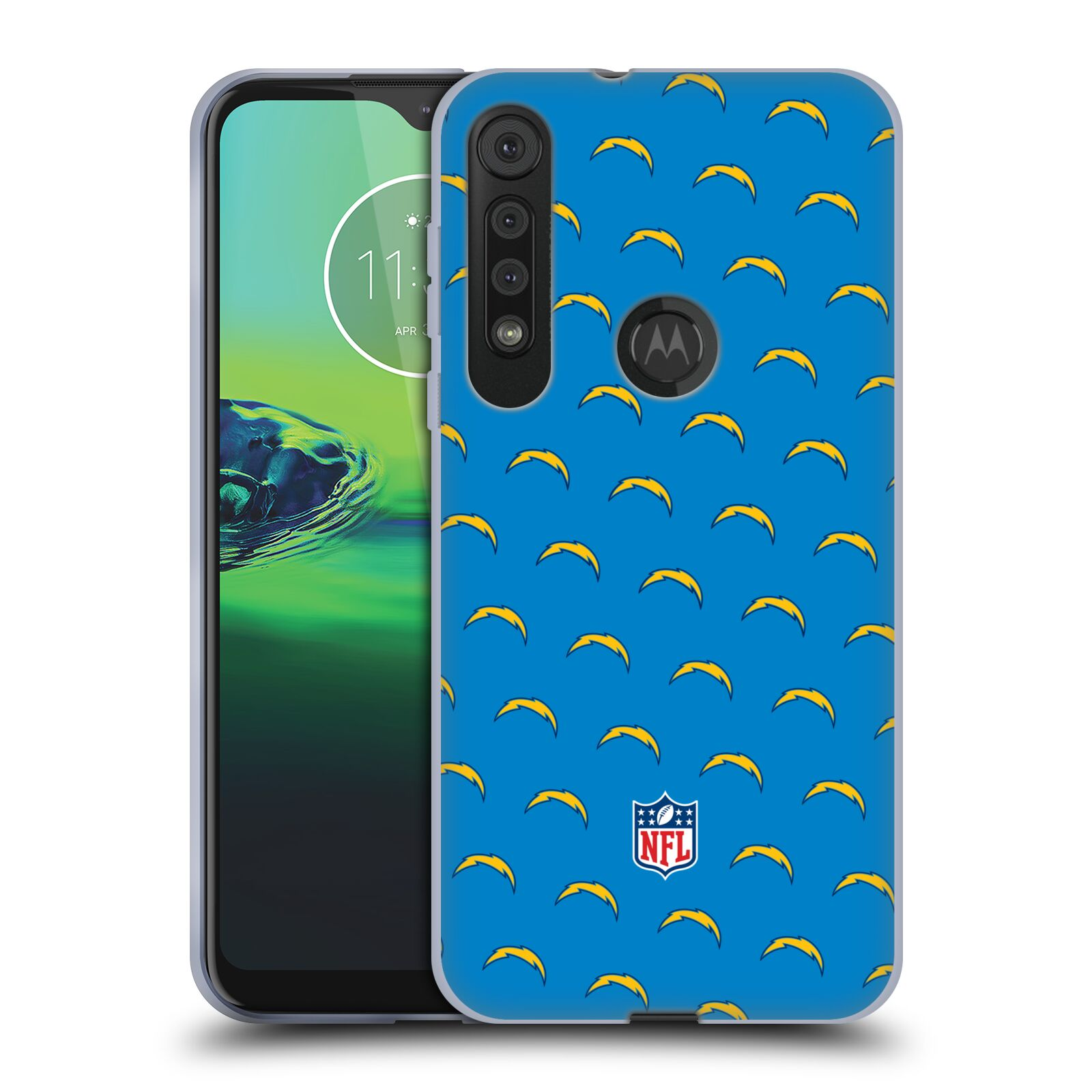 Official NFL 2017/18 Los Angeles Chargers Patterns Gel Case for Motorola One Macro / Moto G8 Play