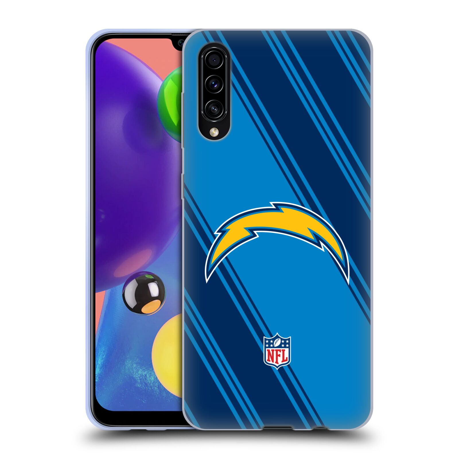Official NFL 2017/18 Los Angeles Chargers Stripes Gel Case for Samsung Galaxy A70s (2019)