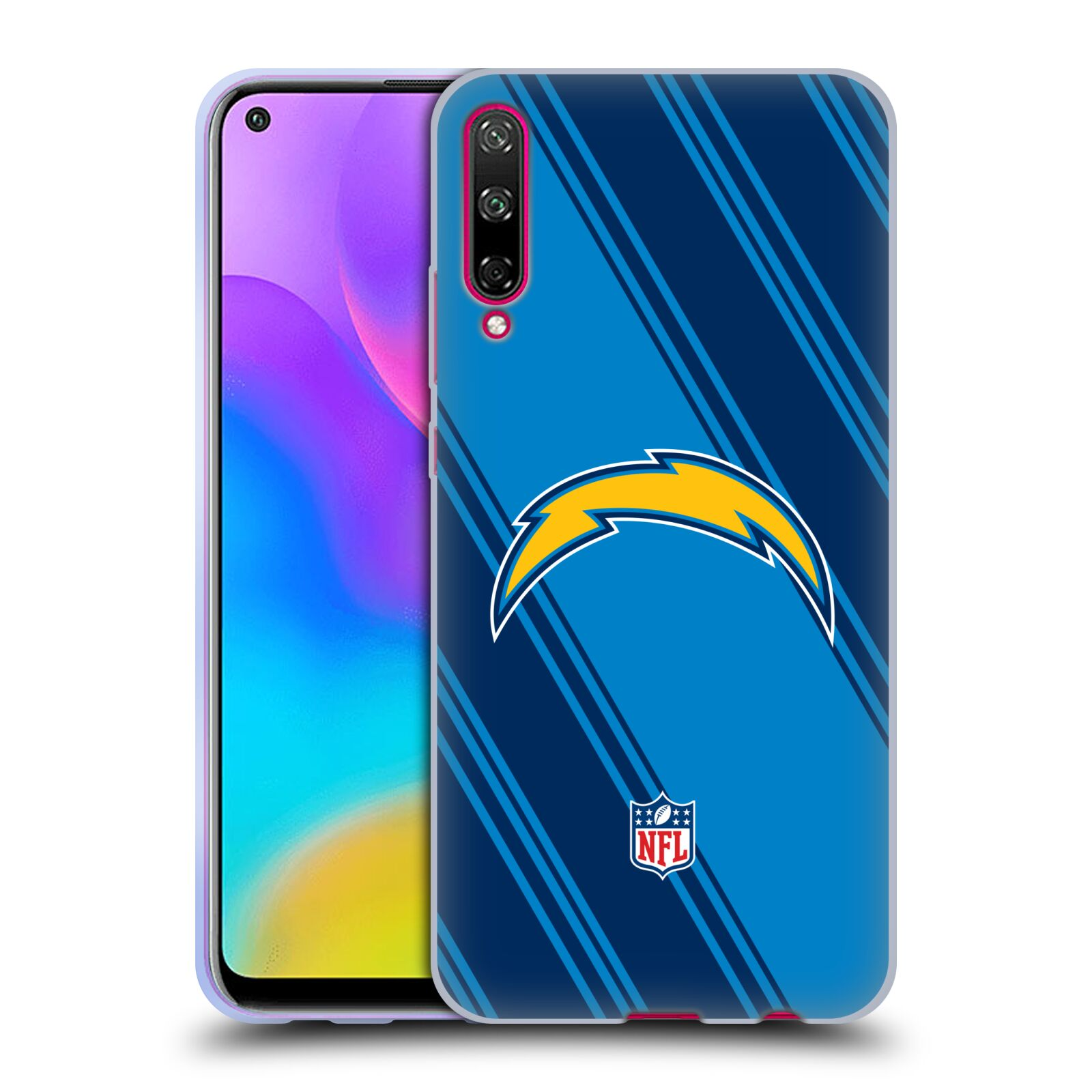Official NFL 2017/18 Los Angeles Chargers Stripes Gel Case for Huawei Honor Play 3