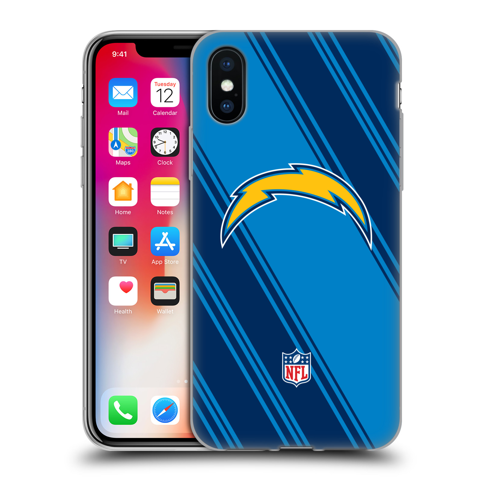 Official NFL 2017/18 Los Angeles Chargers Stripes Gel Case for Apple iPhone X / iPhone XS
