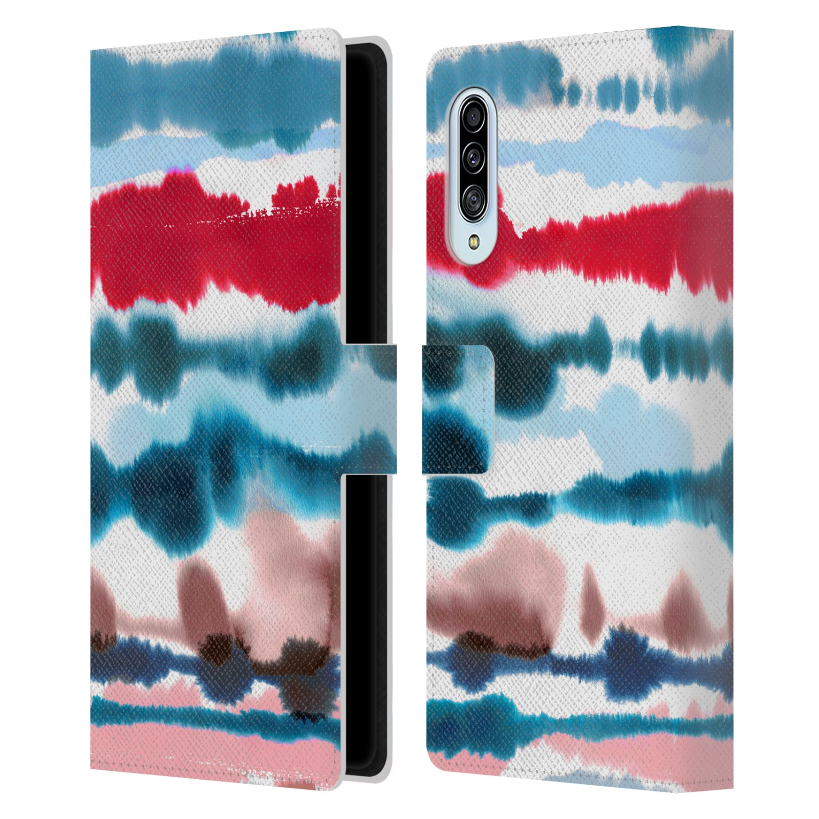 Official Ninola Abstract Lines Soft Nautical Red Leather Book Wallet Case For Samsung Galaxy A90 5G (2019)