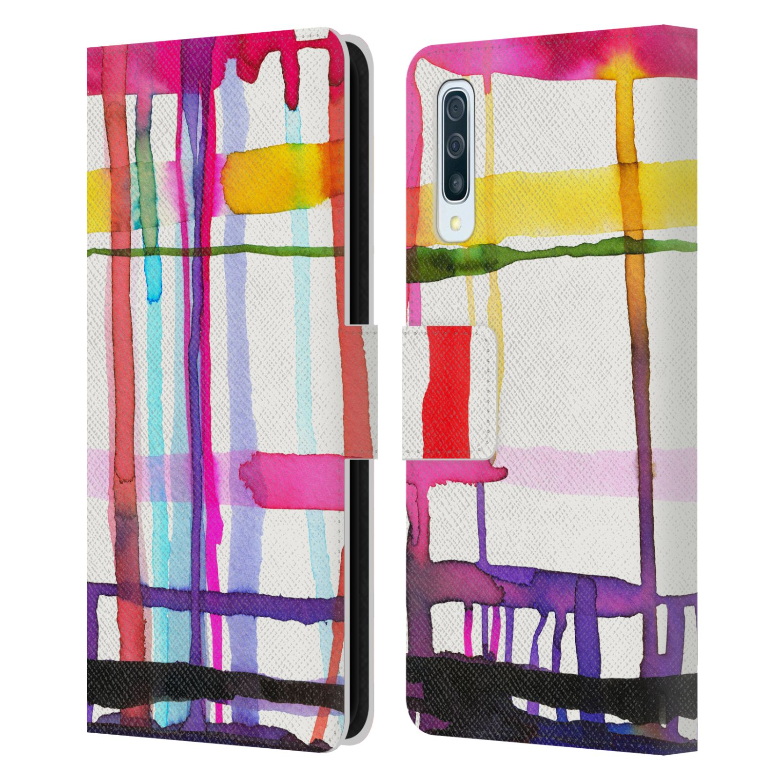 Official Ninola Abstract Lines Watercolour Geometry Leather Book Wallet Case For Samsung Galaxy A50/A30s (2019)