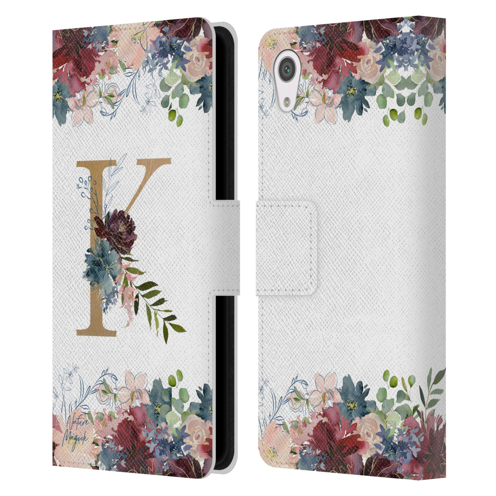 NATURE-MAGICK-FLOWERS-MONOGRAM-FLORAL-GOLD-LEATHER-BOOK-CASE-FOR-SONY-PHONES-1