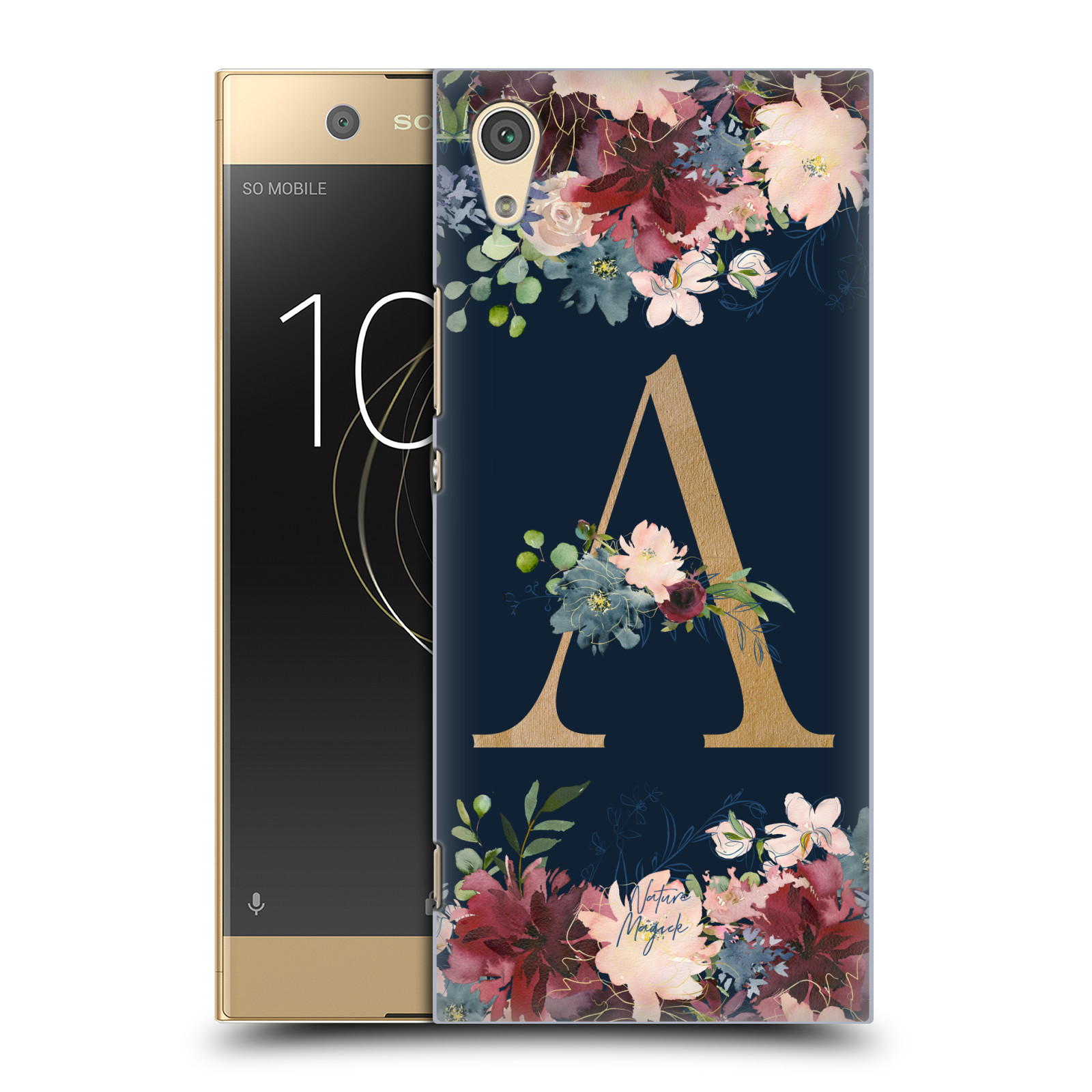 OFFICIAL-NATURE-MAGICK-FLORAL-MONOGRAM-GOLD-NAVY-BACK-CASE-FOR-SONY-PHONES-1