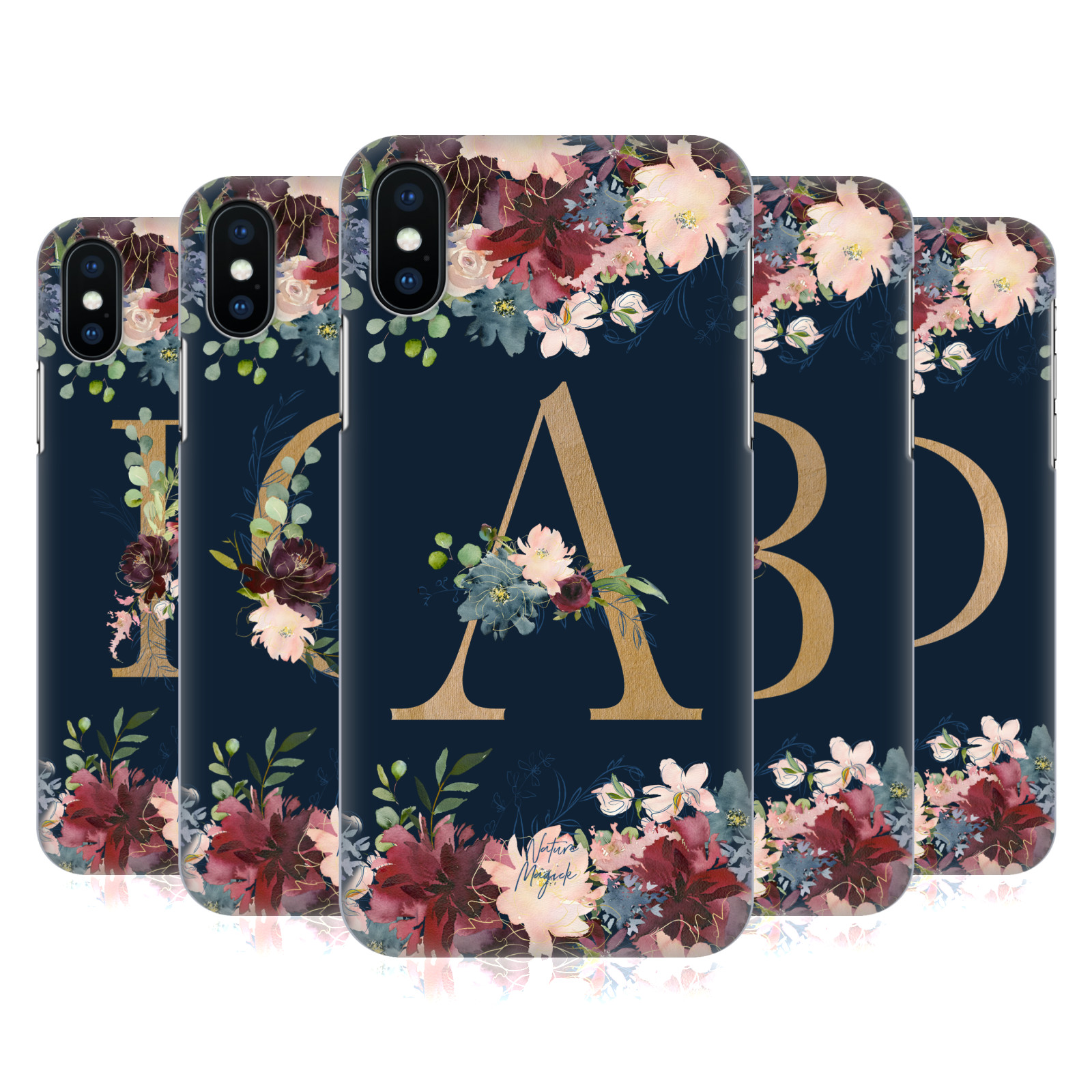 Nature Magick Floral Monogram Gold Navy