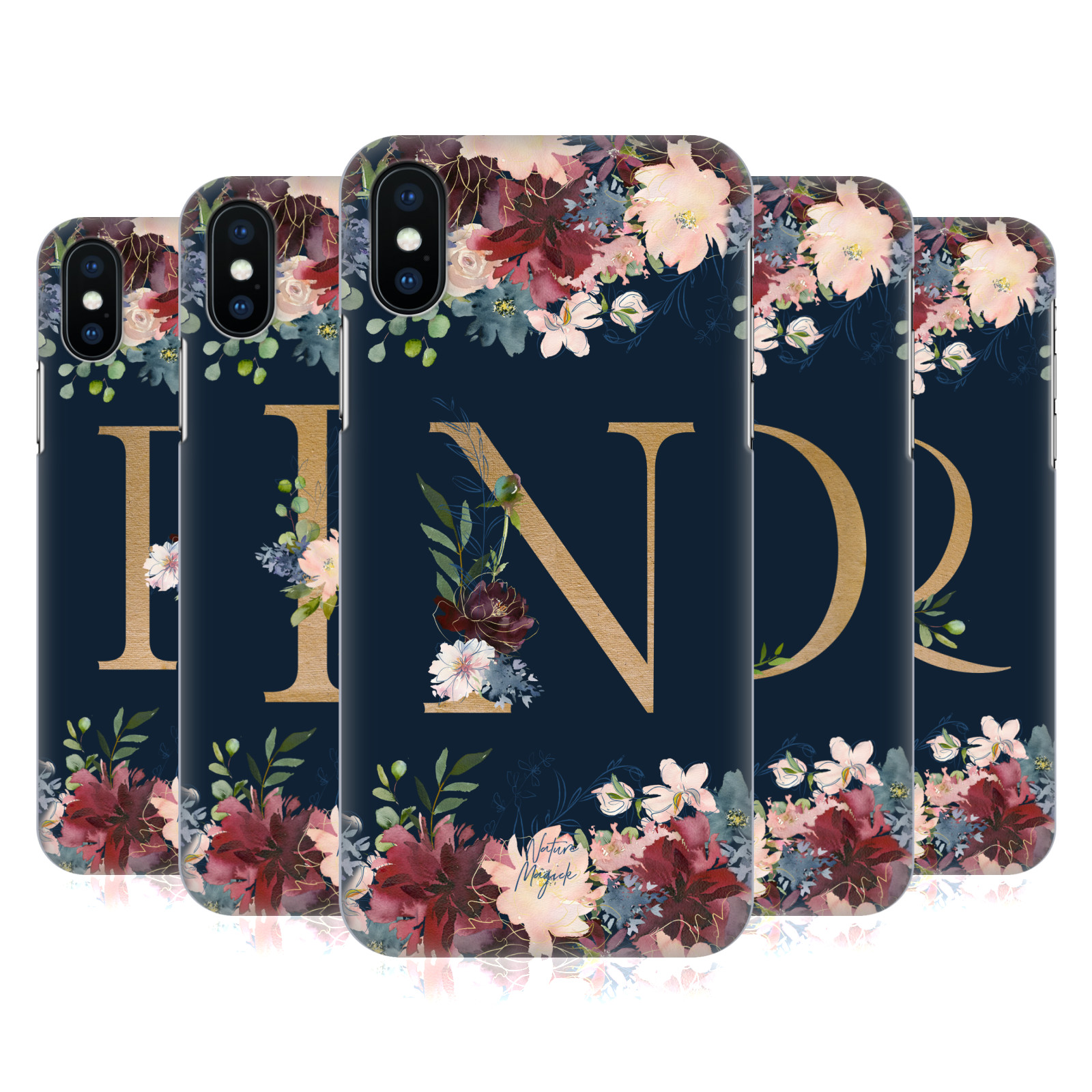 Nature Magick Floral Monogram Gold Navy 2