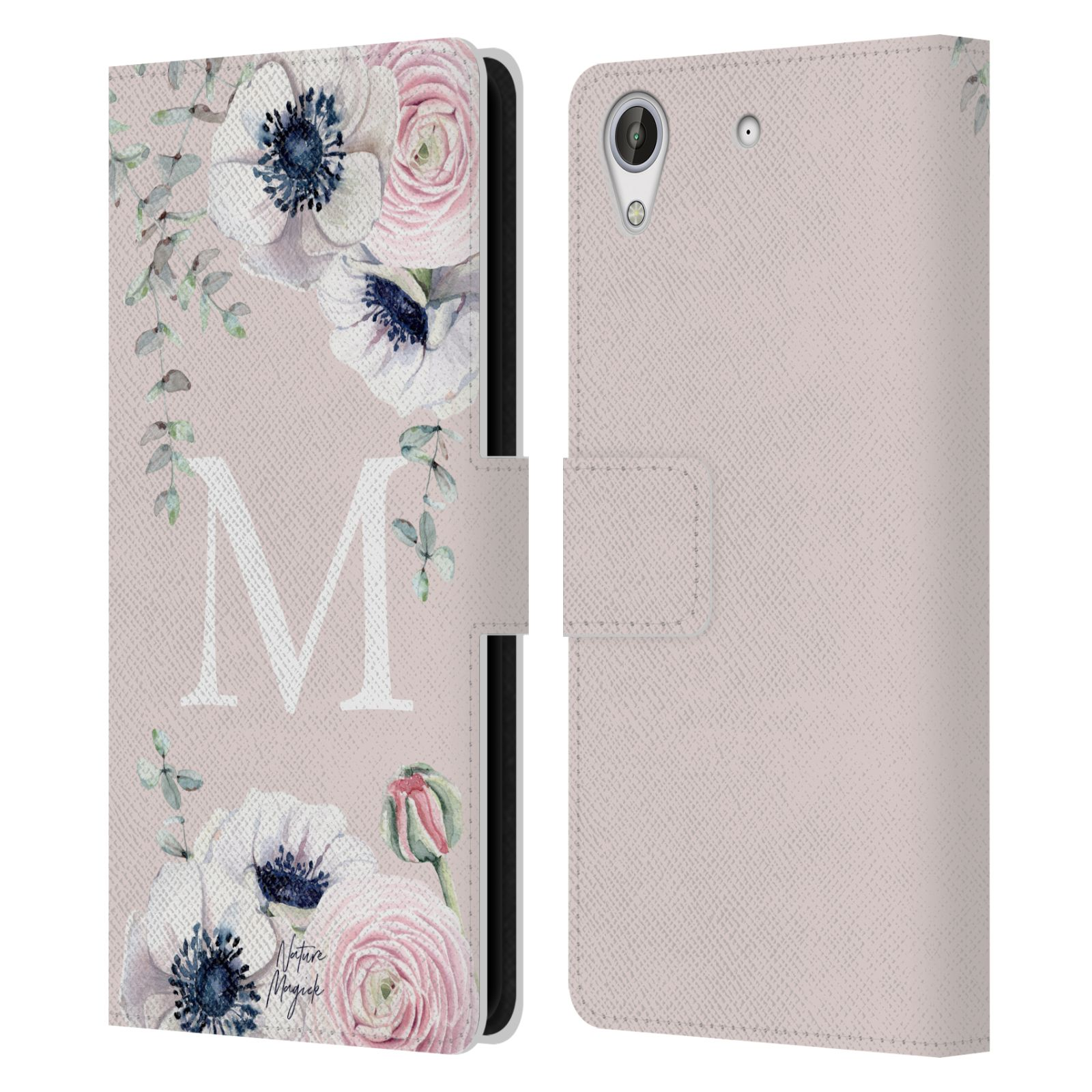 NATURE-MAGICK-FLORAL-MONOGRAM-PINK-FLOWERS-LEATHER-BOOK-CASE-FOR-HTC-PHONES-2