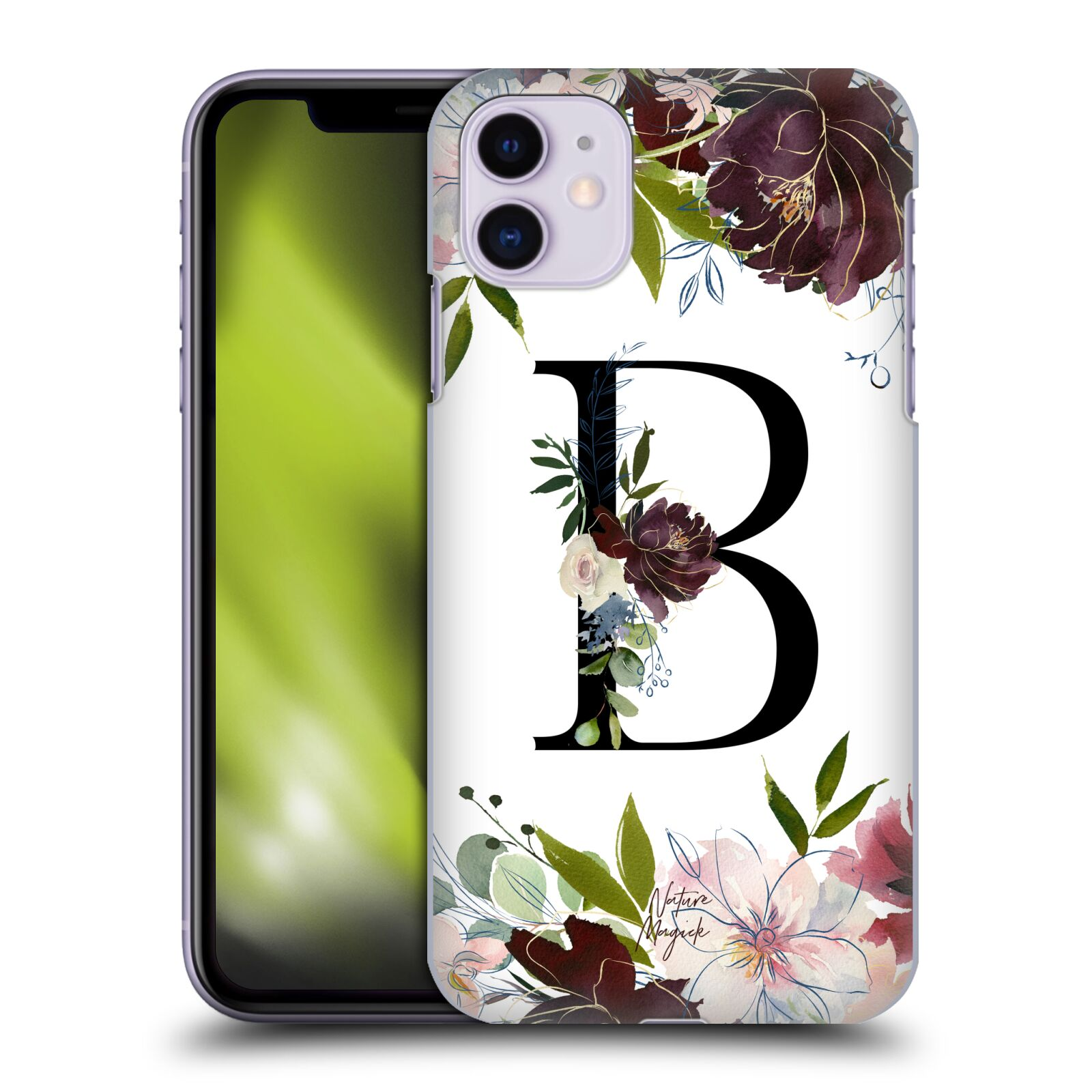Official Nature Magick Monogram Garden Flowers 1 Letter B Back Case for Apple iPhone 11