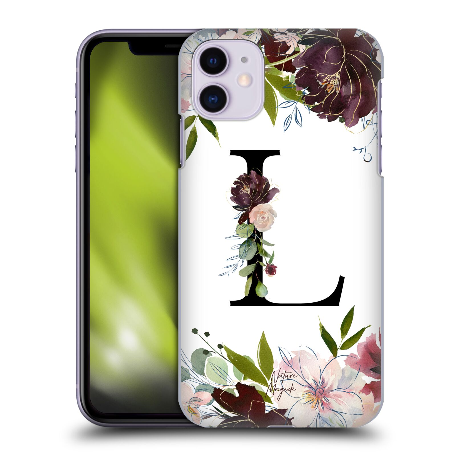 Official Nature Magick Monogram Garden Flowers 1 Letter L Back Case for Apple iPhone 11