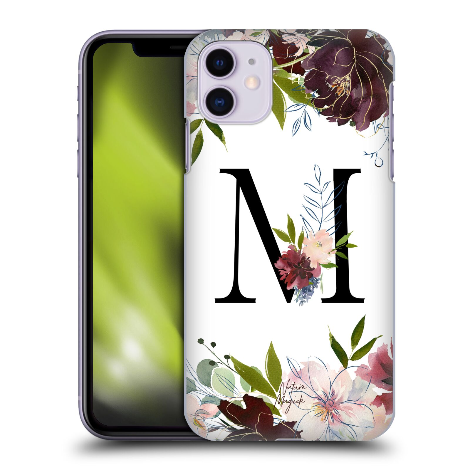 Official Nature Magick Monogram Garden Flowers 1 Letter M Back Case for Apple iPhone 11