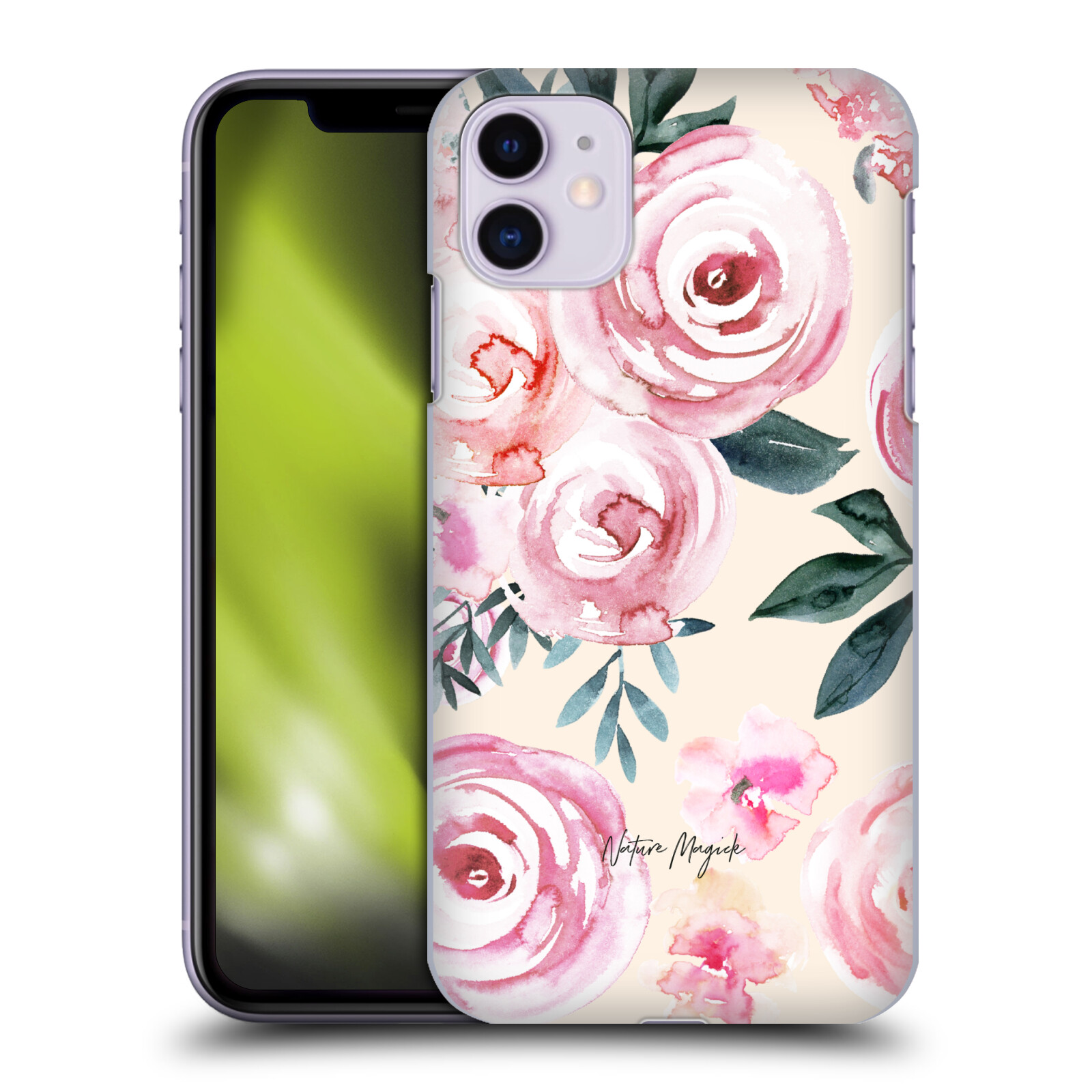 Official Nature Magick Pink Blush Roses Watercolor Cream Flowers Bouquet Back Case for Apple iPhone 11