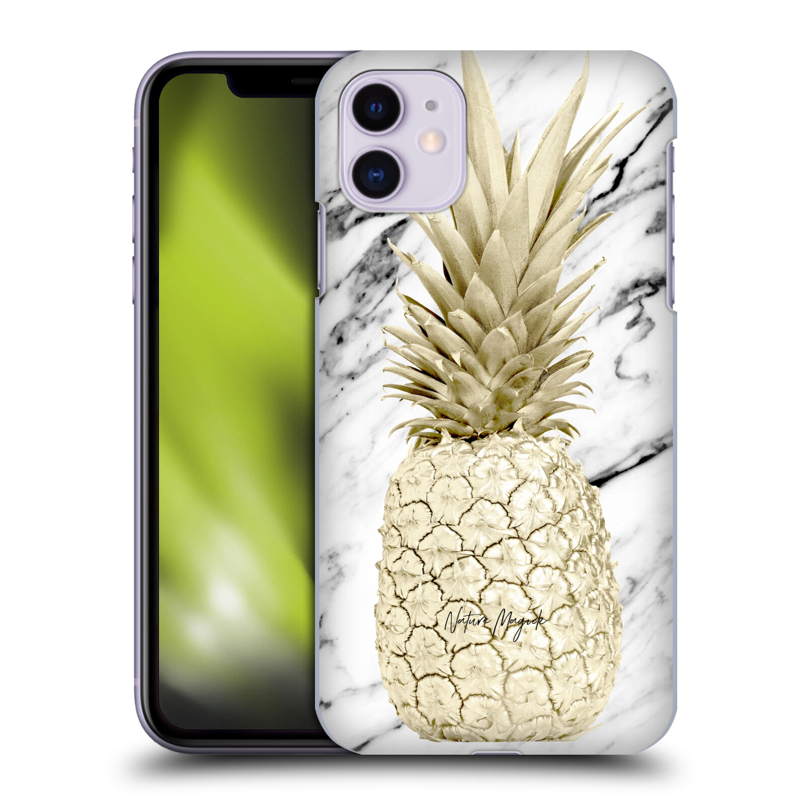 Official Nature Magick Pineapple on Marble Gold Pineapple Back Case for Apple iPhone 11