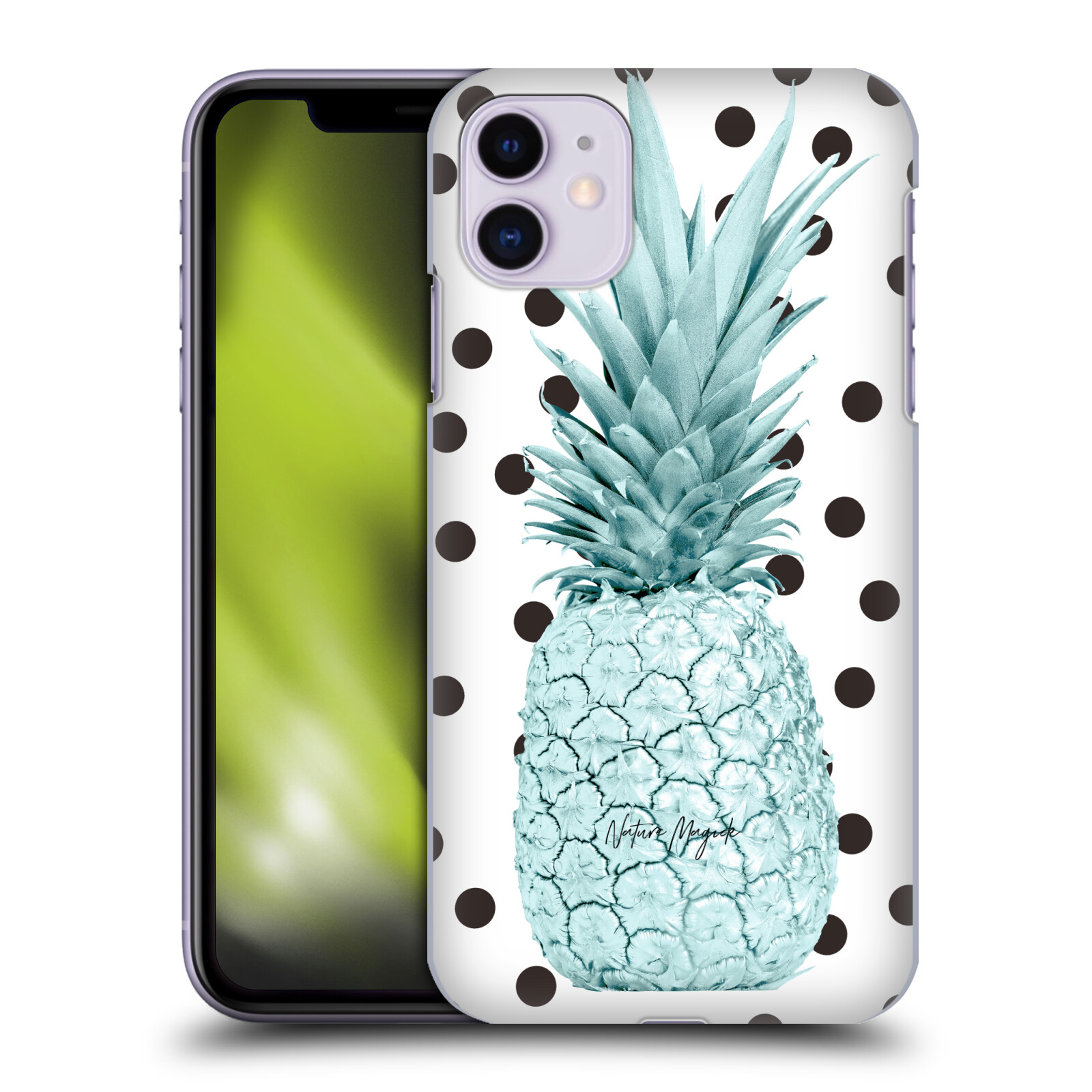 Official Nature Magick Pineapple Polka Dots Rose Gold Metallic Teal Back Case for Apple iPhone 11