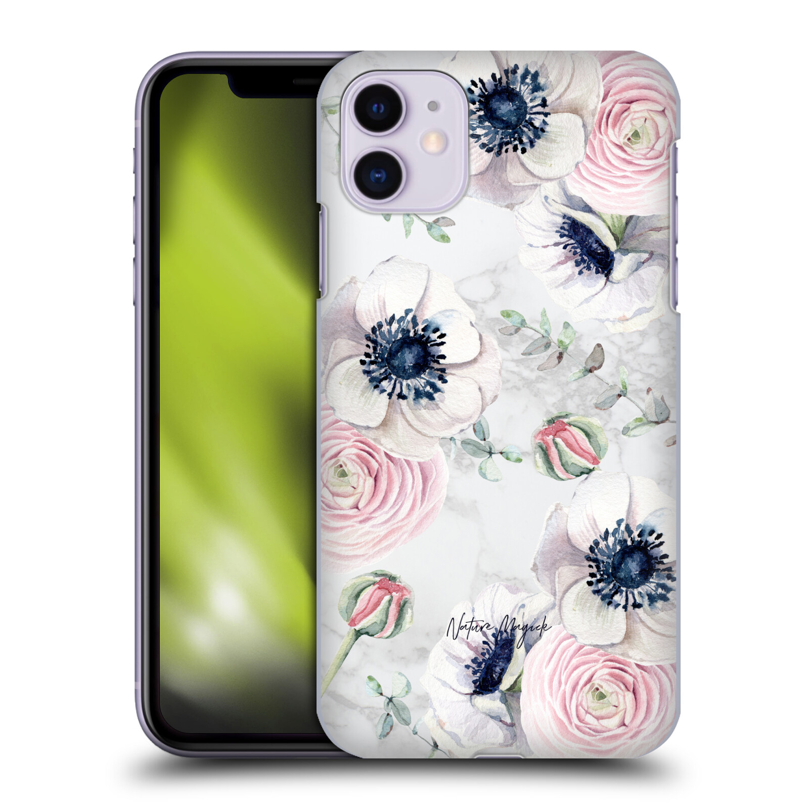 Official Nature Magick Pretty Watercolor Roses Floral Marble Flower Garden Back Case for Apple iPhone 11