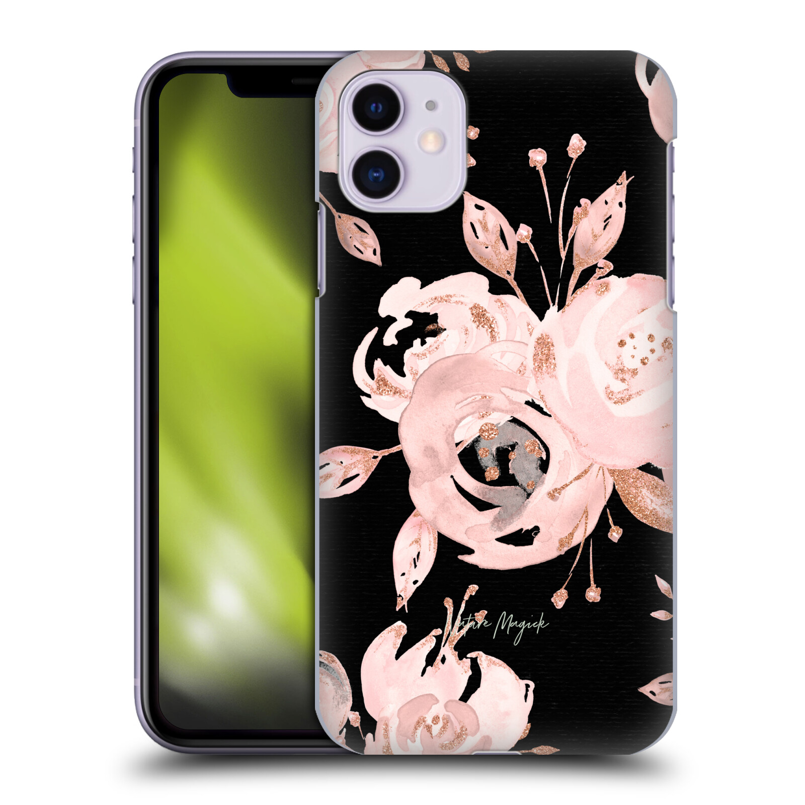Official Nature Magick Rose Gold Glitter Night Roses Rose Gold Flowers on Black Back Case for Apple iPhone 11