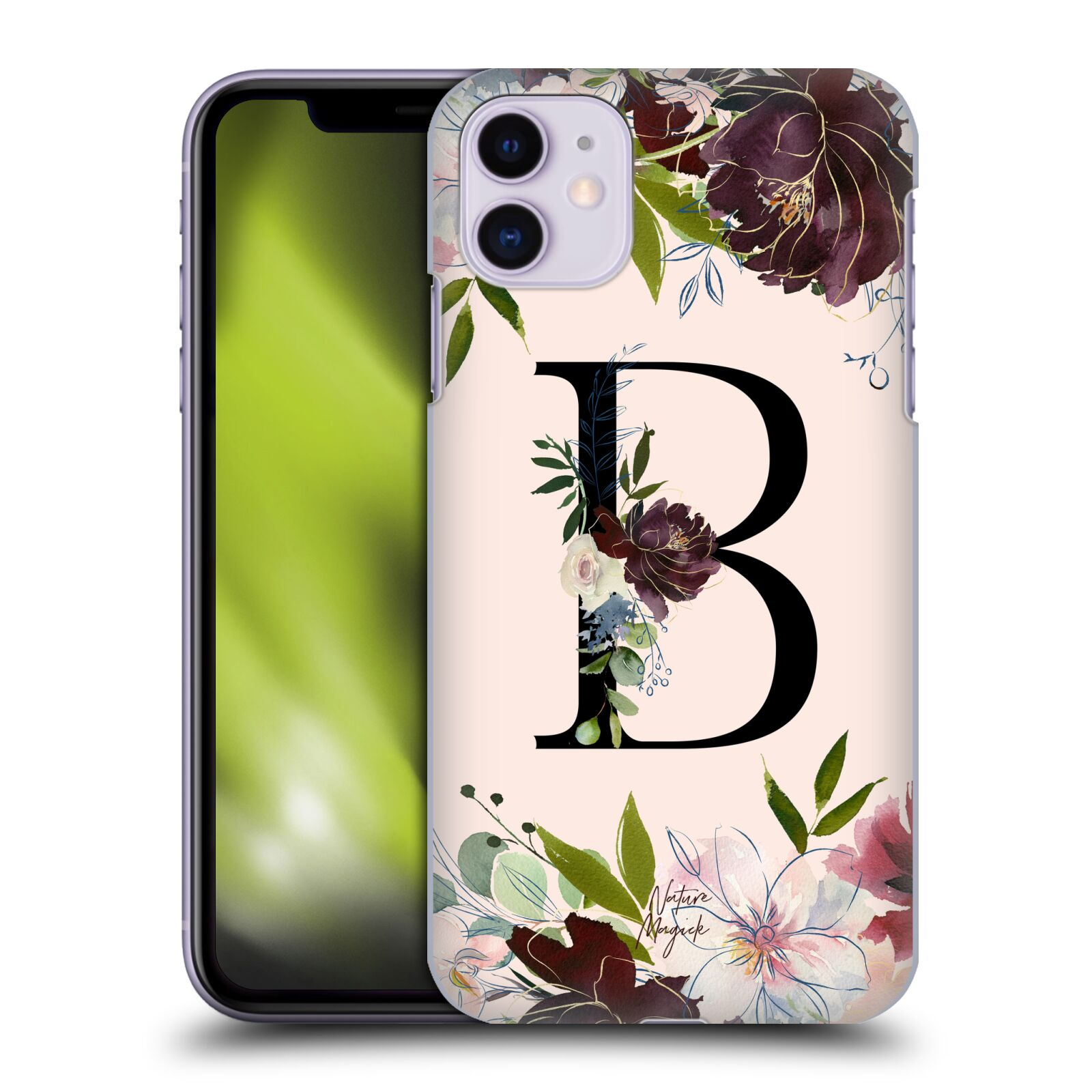 Official Nature Magick Rose Gold Flowers Monogram 1 Letter B Back Case for Apple iPhone 11