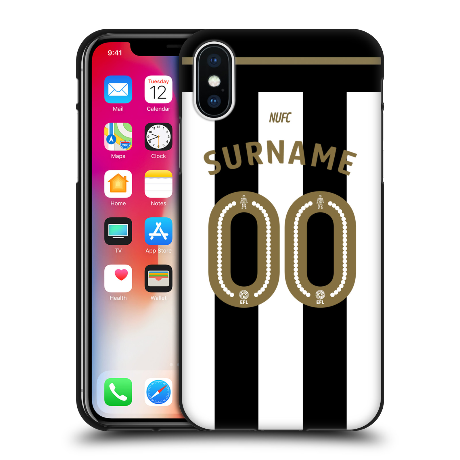 CUSTOM-PERSONALISED-NUFC-2016-17-BLACK-SOFT-GEL-CASE-FOR-APPLE-iPHONE-PHONES
