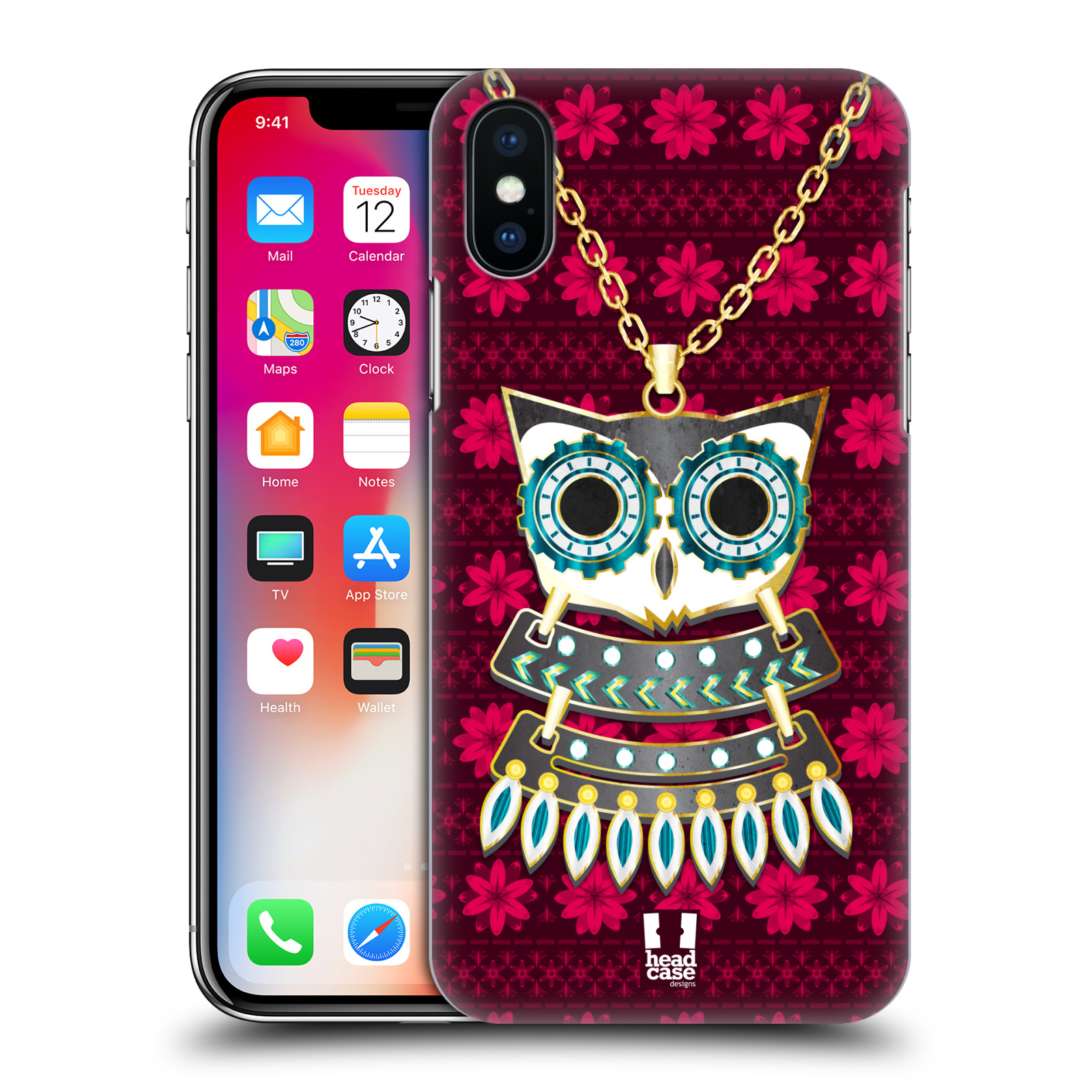 HEAD-CASE-DESIGNS-TENDANCES-DE-HIBOU-ETUI-COQUE-D-039-ARRIERE-POUR-APPLE-iPHONE-X