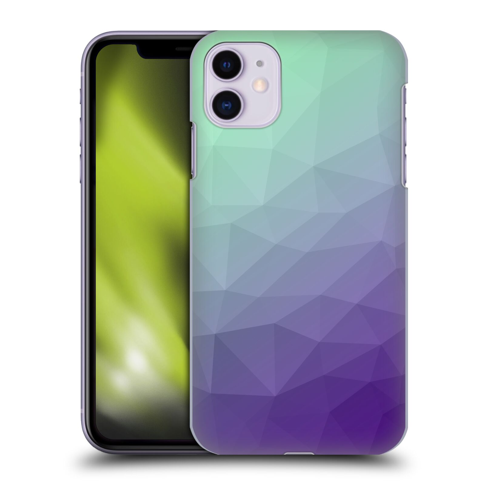 Official PLdesign Geometric Purple Green Ombre Back Case for Apple iPhone 11