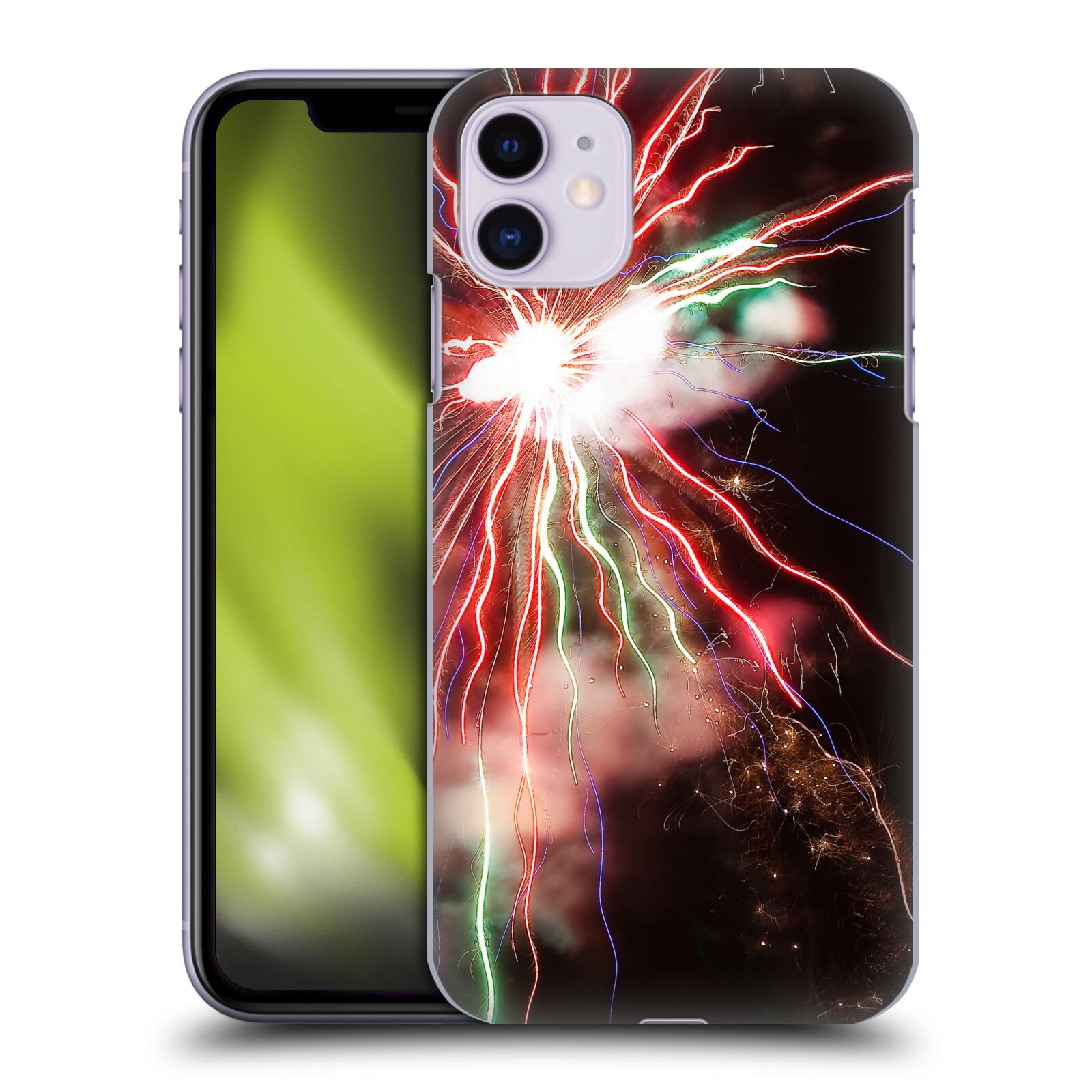 Official PLdesign Holidays And Festivities Red And Green Fireworks Case for Apple iPhone 11