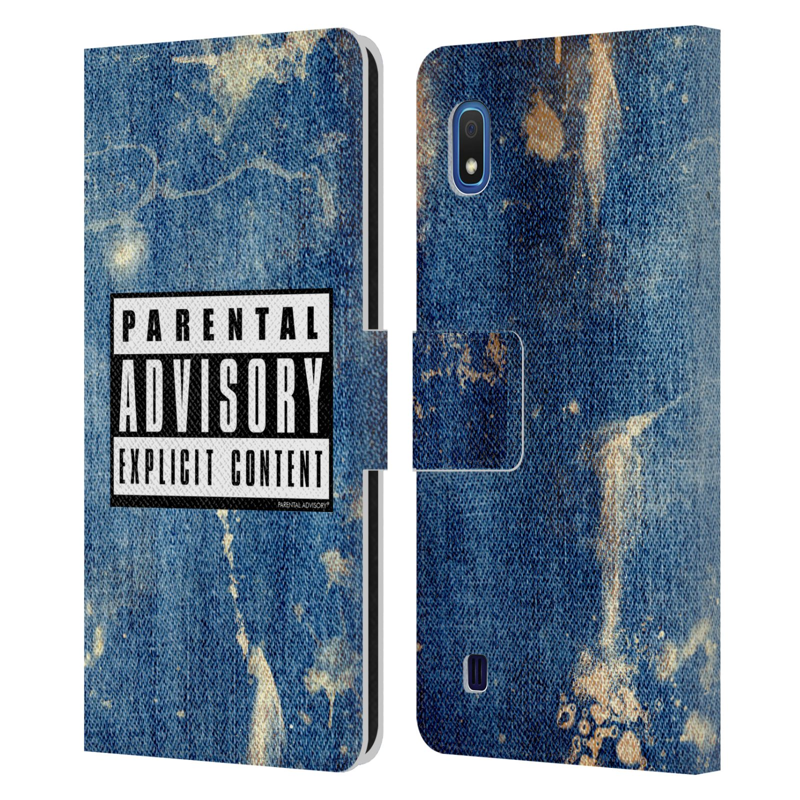 Official Parental Advisory Punk Rock Acid Wash Leather Book Case For Samsung Galaxy A10 (2019)