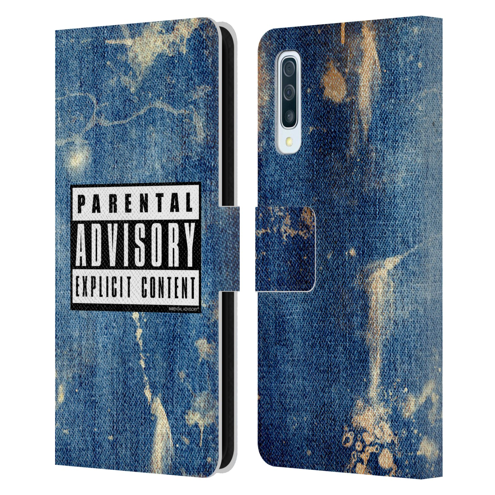 Official Parental Advisory Punk Rock Acid Wash Leather Book Case For Samsung Galaxy A50/A30s (2019)