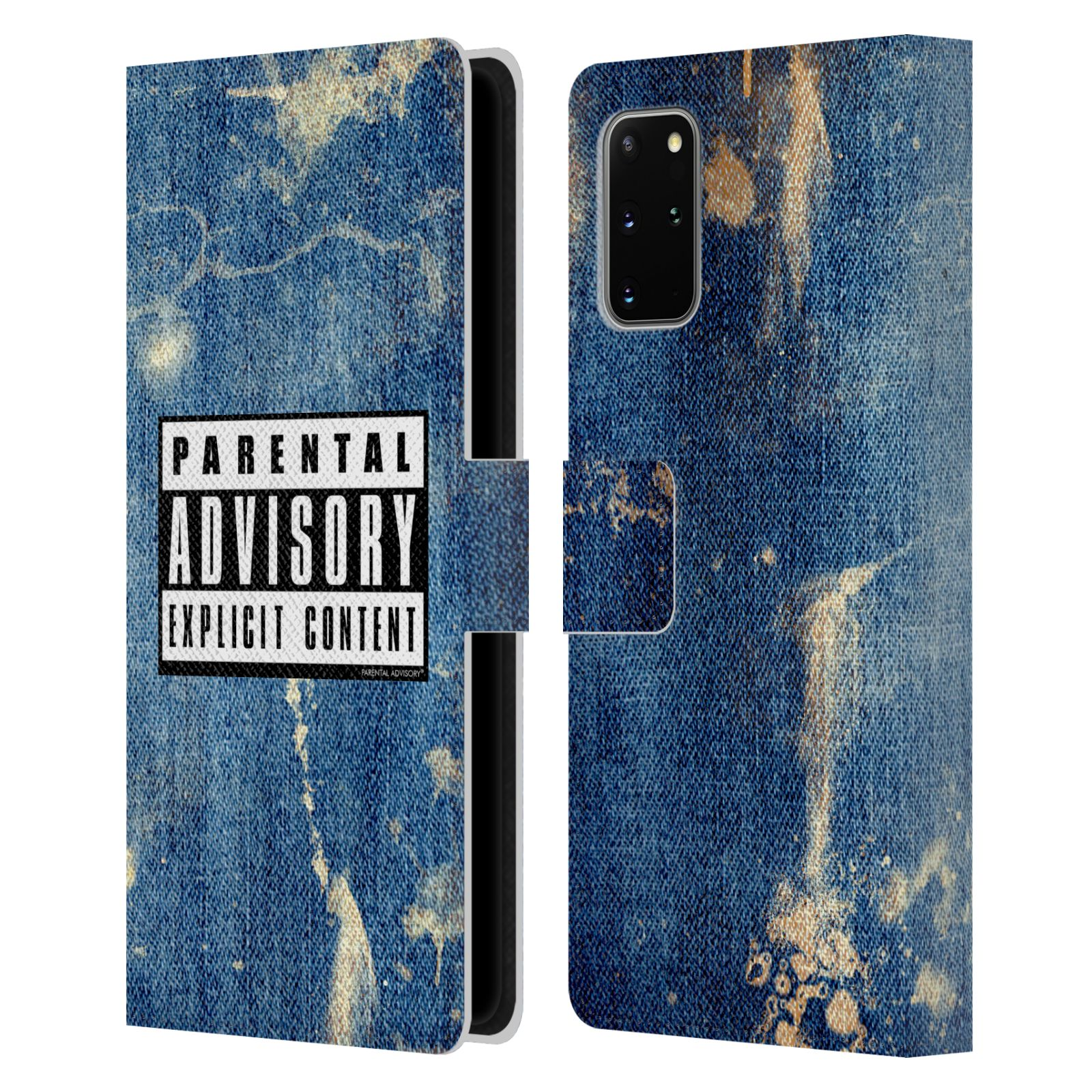 Official Parental Advisory Punk Rock Acid Wash Leather Book Case For Samsung Galaxy S20+ / S20+ 5G