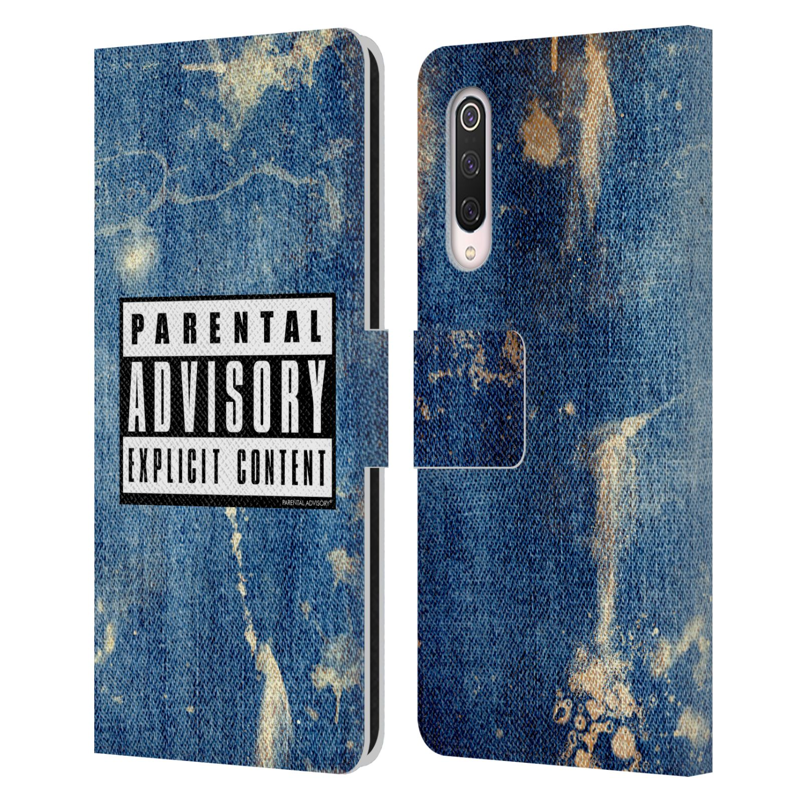 Official Parental Advisory Punk Rock Acid Wash Leather Book Case For Xiaomi Mi 9 Pro / 5G