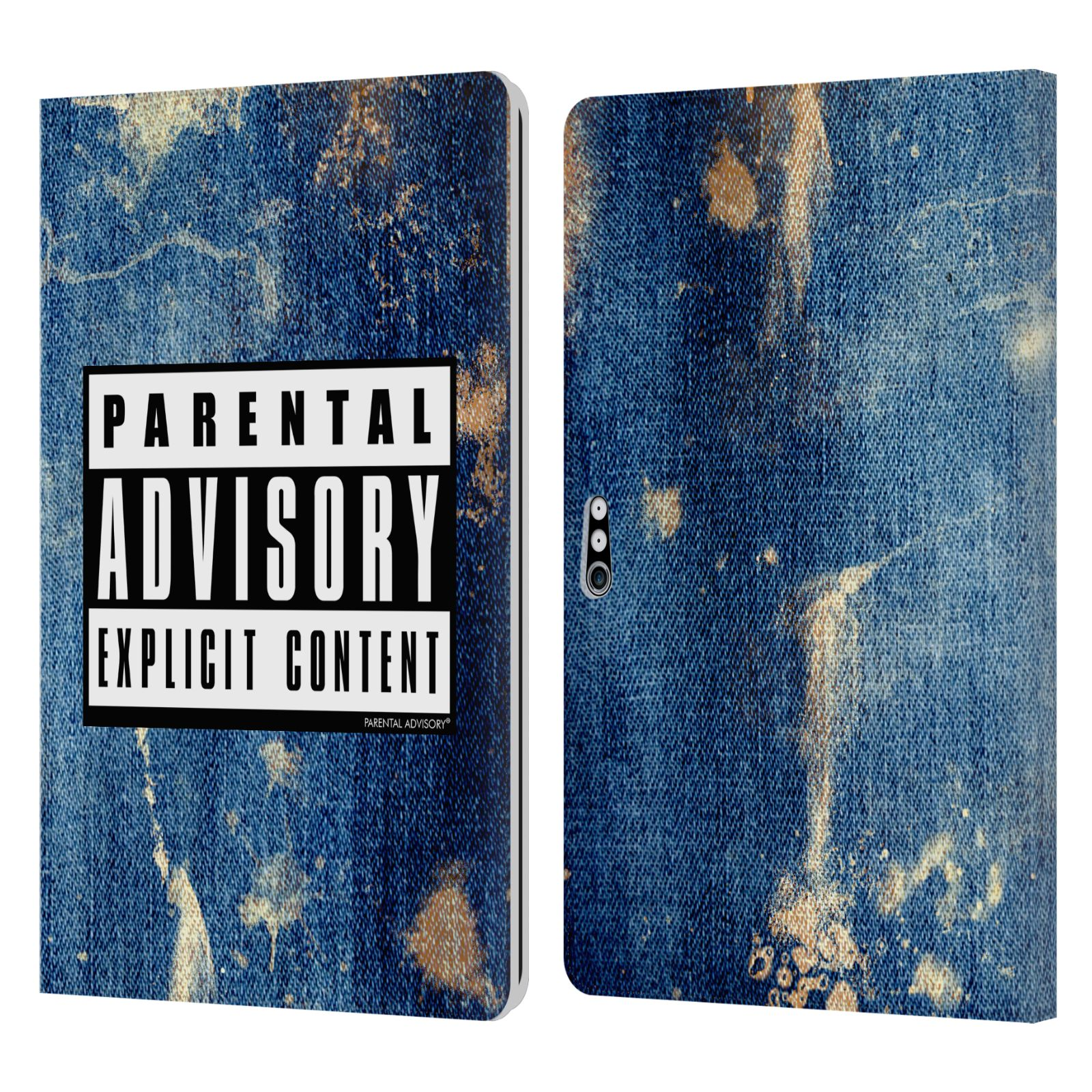Official Parental Advisory Punk Rock Acid Wash Leather Book Case For Microsoft Surface Pro 4/5/6