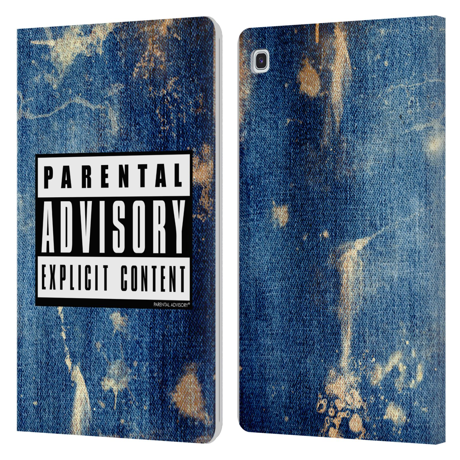 Official Parental Advisory Punk Rock Acid Wash Leather Book Case For Samsung Galaxy Tab S5e