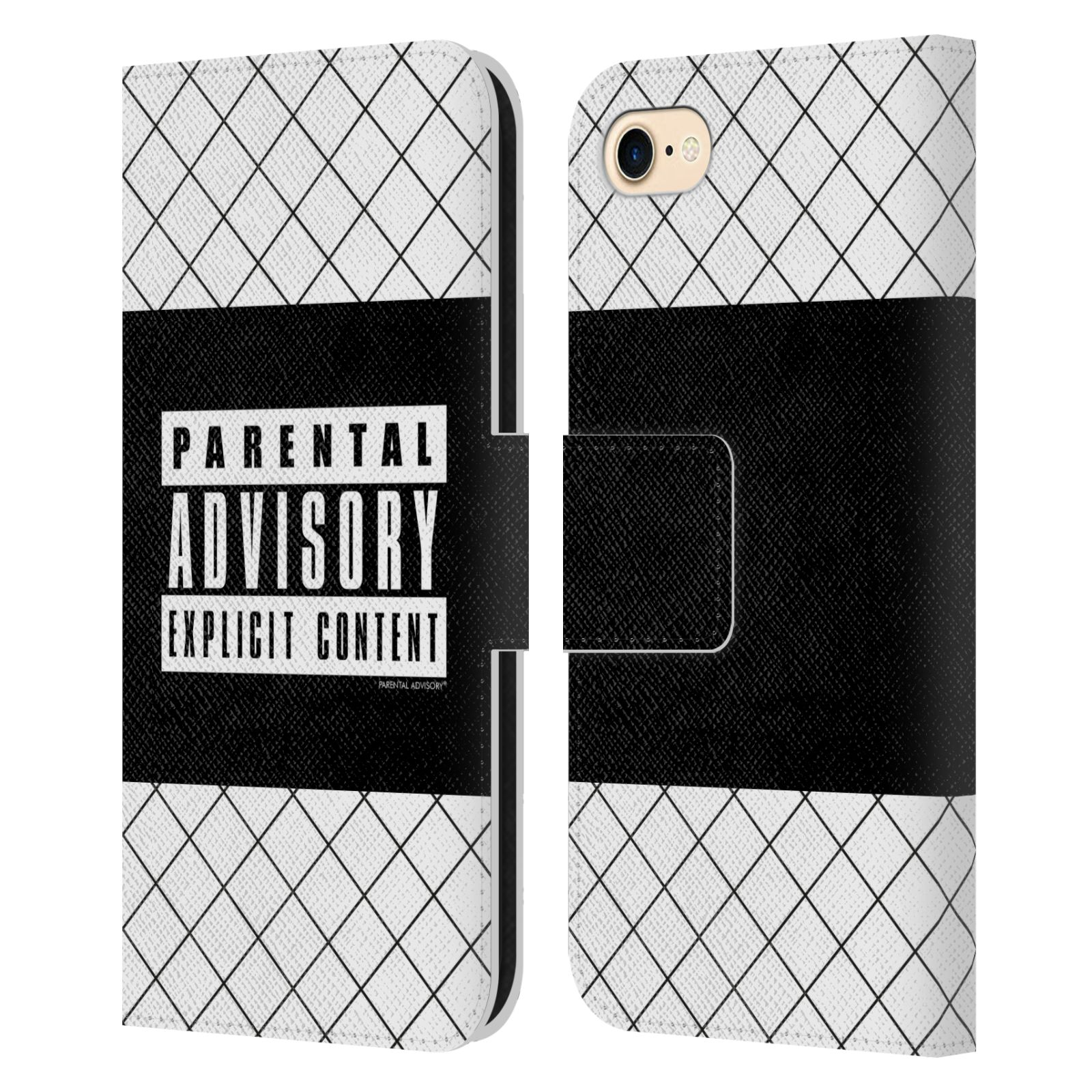 Official Parental Advisory Punk Rock Net Leather Book Case For Apple iPhone 7 / 8 / iPhone SE 2020