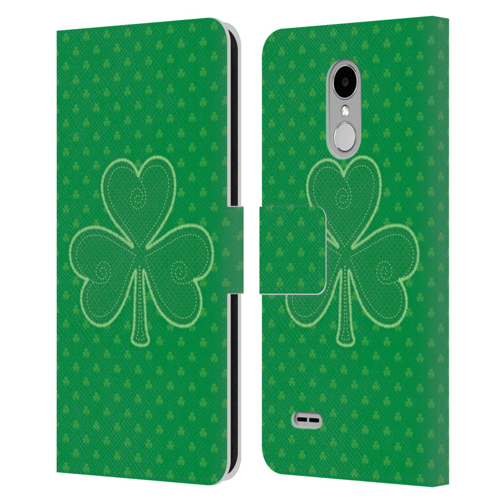 HEAD-CASE-DESIGNS-SHAMROCK-PATTERNS-LEATHER-BOOK-CASE-FOR-LG-STYLUS-3-K10-PRO