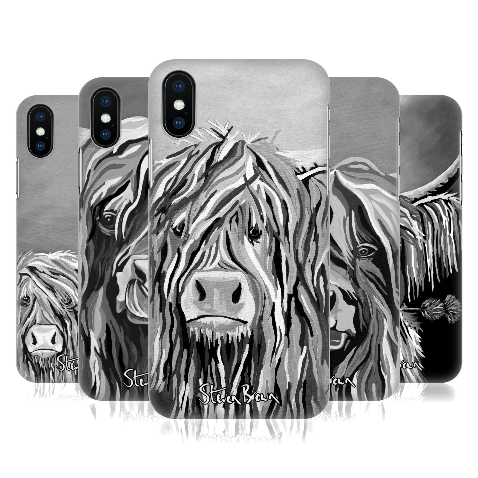 Steven Brown Highland Cow Black & White