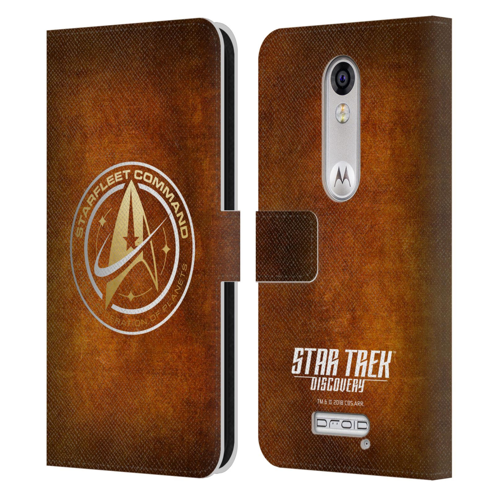 OFFICIAL-STAR-TREK-DISCOVERY-BADGES-LEATHER-BOOK-CASE-FOR-MOTOROLA-PHONES-2