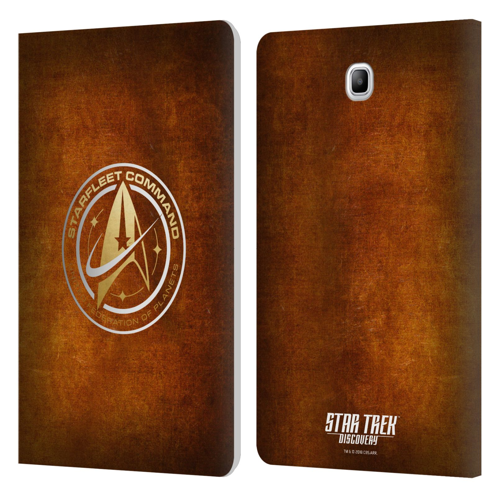 OFFICIAL-STAR-TREK-DISCOVERY-BADGES-LEATHER-BOOK-CASE-FOR-SAMSUNG-GALAXY-TABLETS