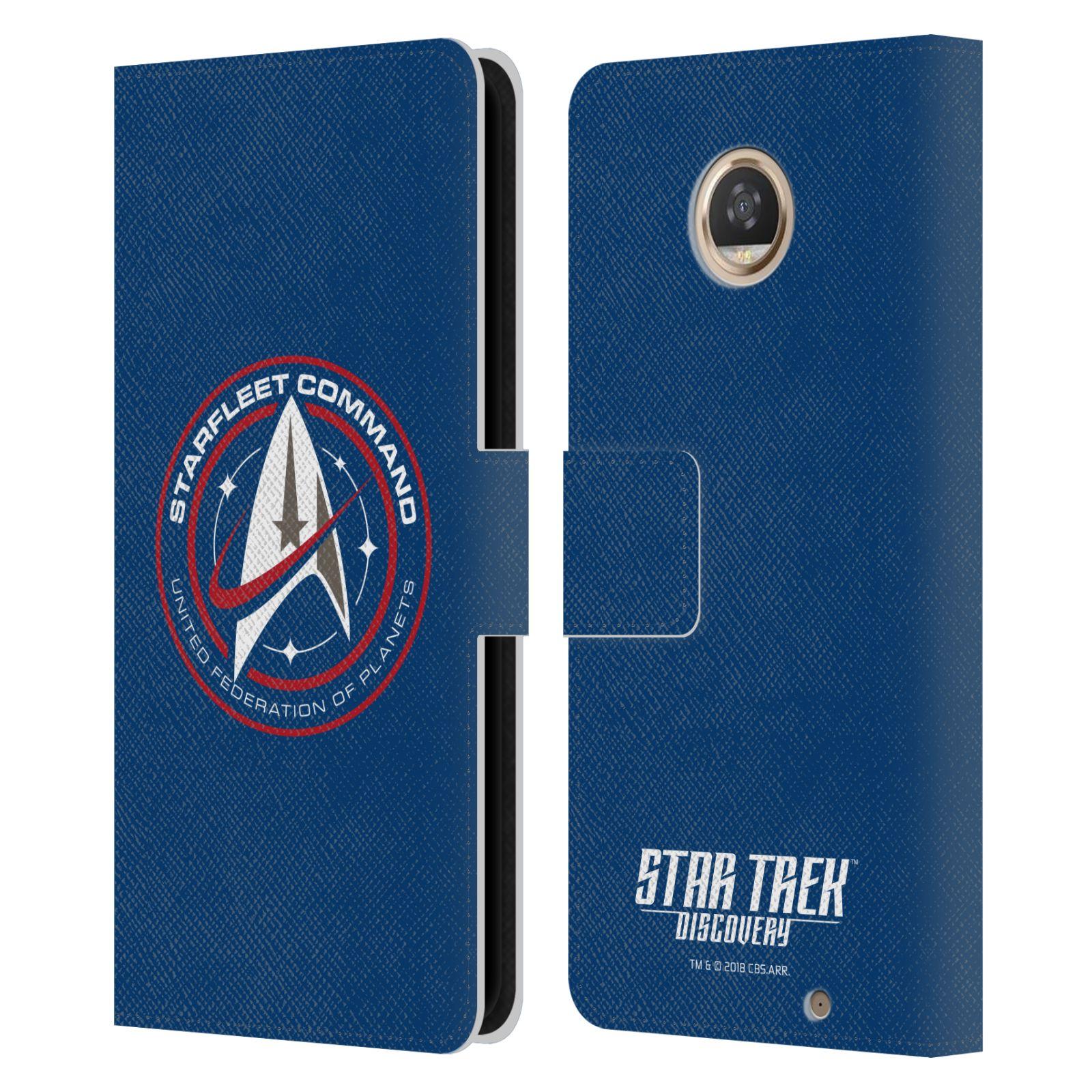 Descubrimiento-oficial-de-Star-Trek-Estuche-tipo-Billetera-Cuero-Libro-insignias-para-telefonos
