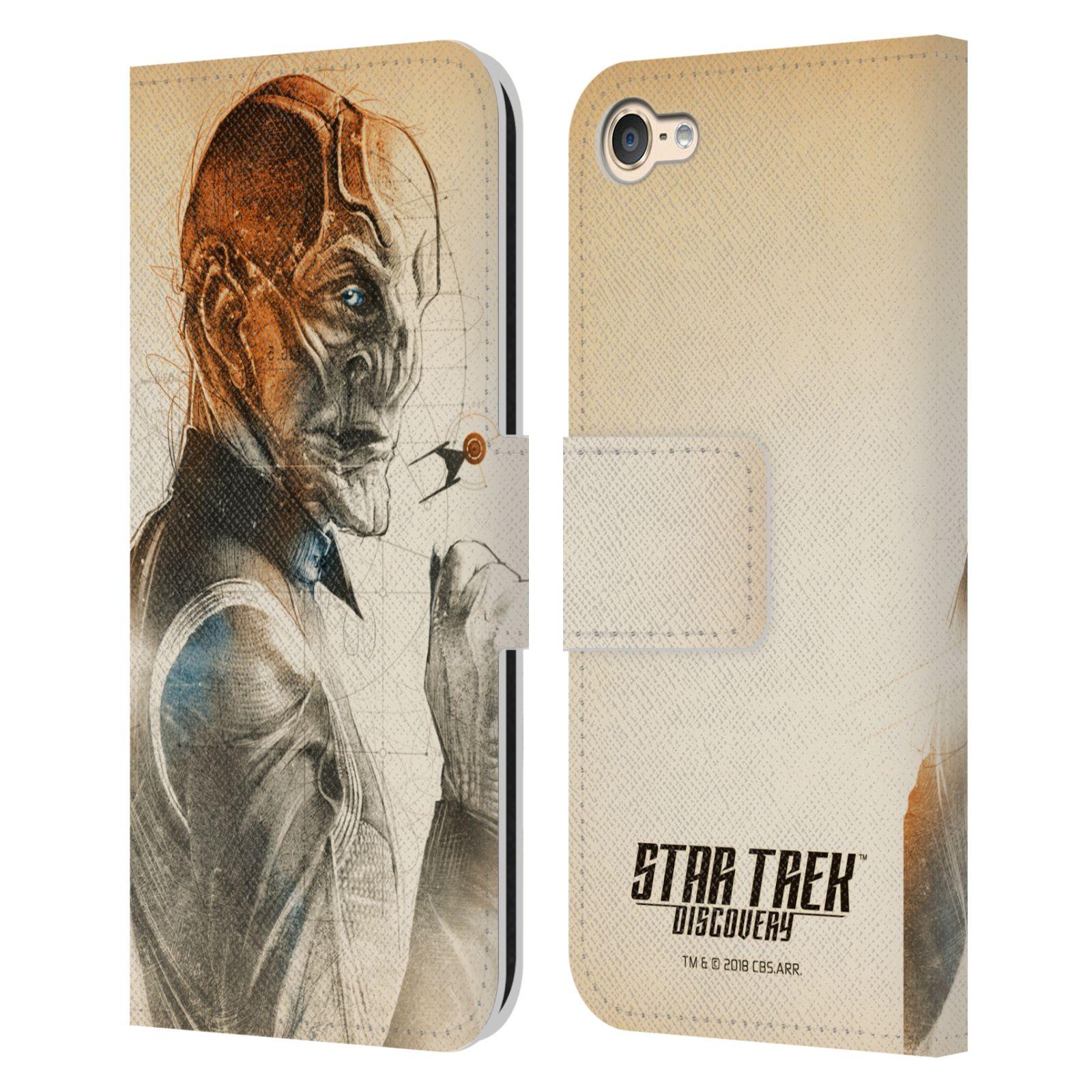 Personajes-de-Star-Trek-descubrimiento-Grunge-Cuero-Libro-Caso-para-Apple-iPod-Touch-MP3